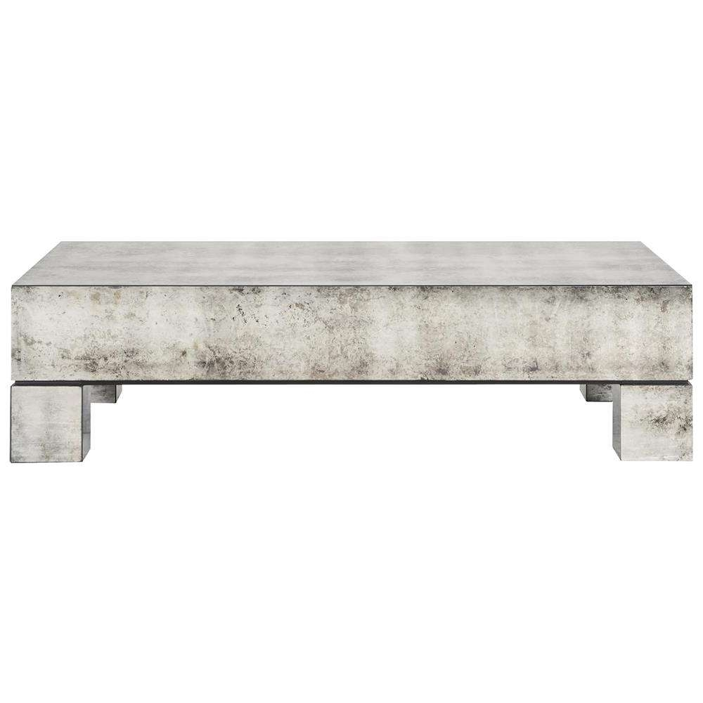 Most Up To Date Antique Mirrored Coffee Tables Intended For Phineas Industrial Loft Antiqued Mirror Coffee Table (View 14 of 20)