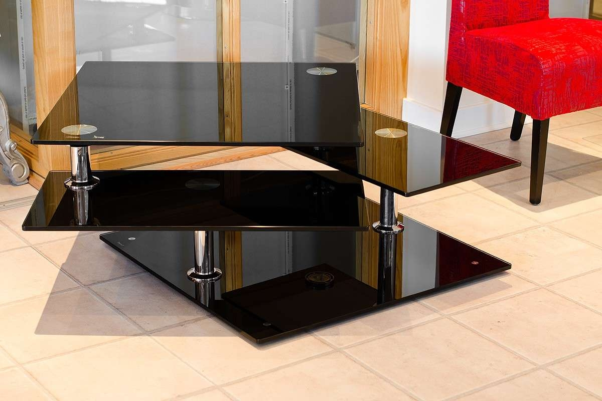 Most Up To Date Black Glass Coffee Tables With Regard To Black Glass Motion Coffee Table – Be Fabulous! (View 3 of 20)