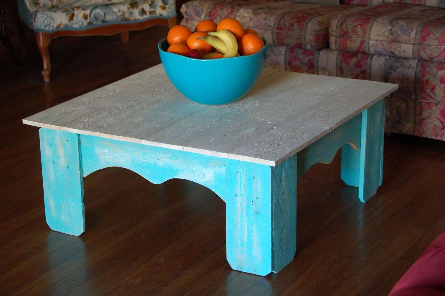Most Up To Date Blue Coffee Tables With Distressed Blue Coffee Table (View 8 of 20)
