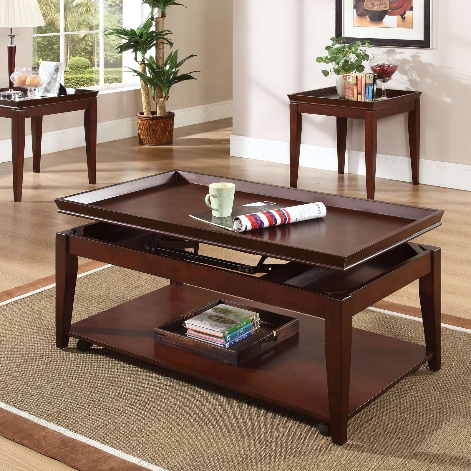 Most Up To Date Cherry Wood Coffee Table Sets Pertaining To Steve Silver Clemens Rectangular Cherry Wood Lift Top 3 Piece (View 7 of 20)