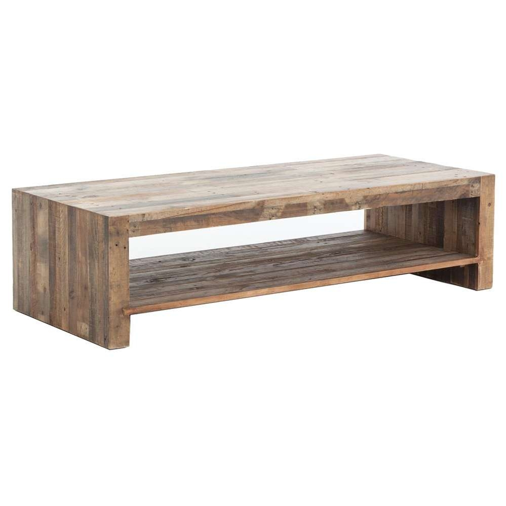 Most Up To Date Chunky Wood Coffee Tables For Wynn Modern Rustic Lodge Chunky Reclaimed Wood Rectangle Coffee (View 8 of 20)