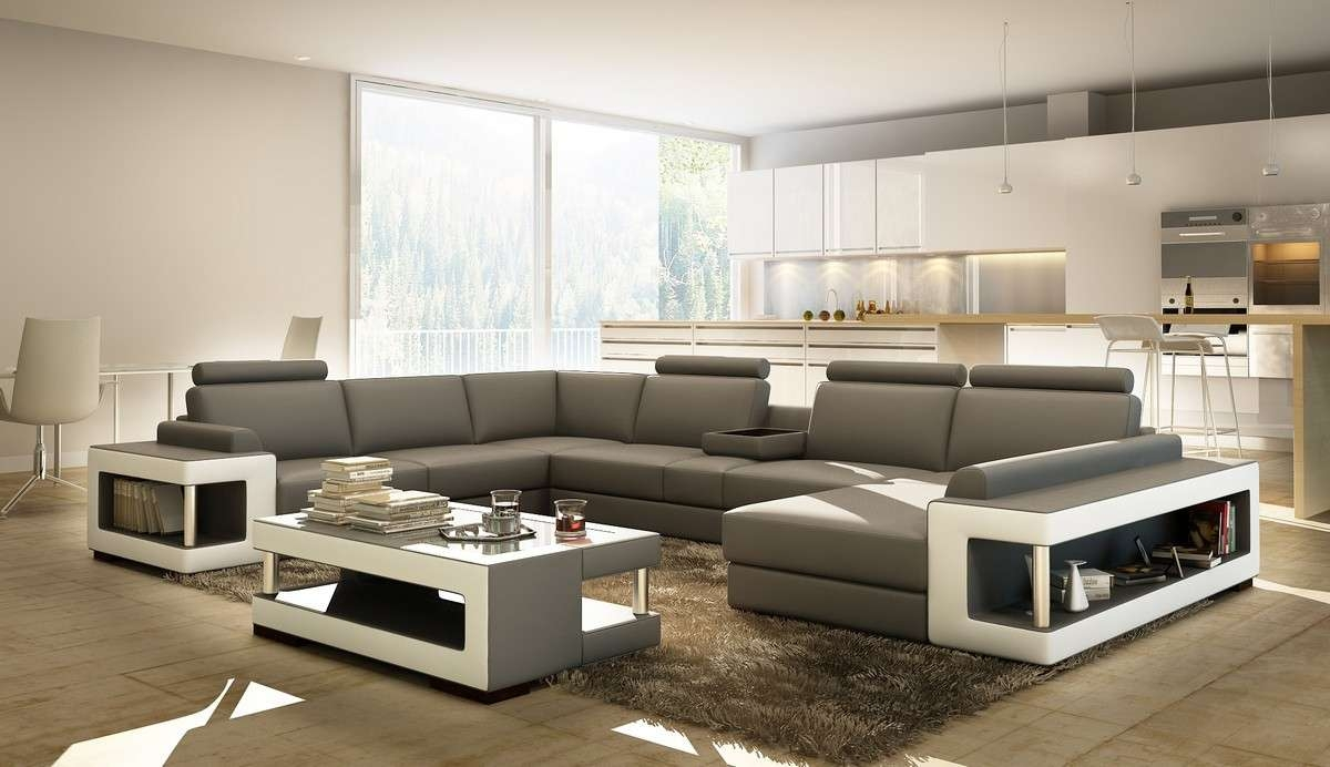 Most Up To Date Coffee Table For Sectional Sofa Regarding Divani Casa 5080 Grey And White Leather Sectional Sofa W Coffee Table (View 7 of 20)