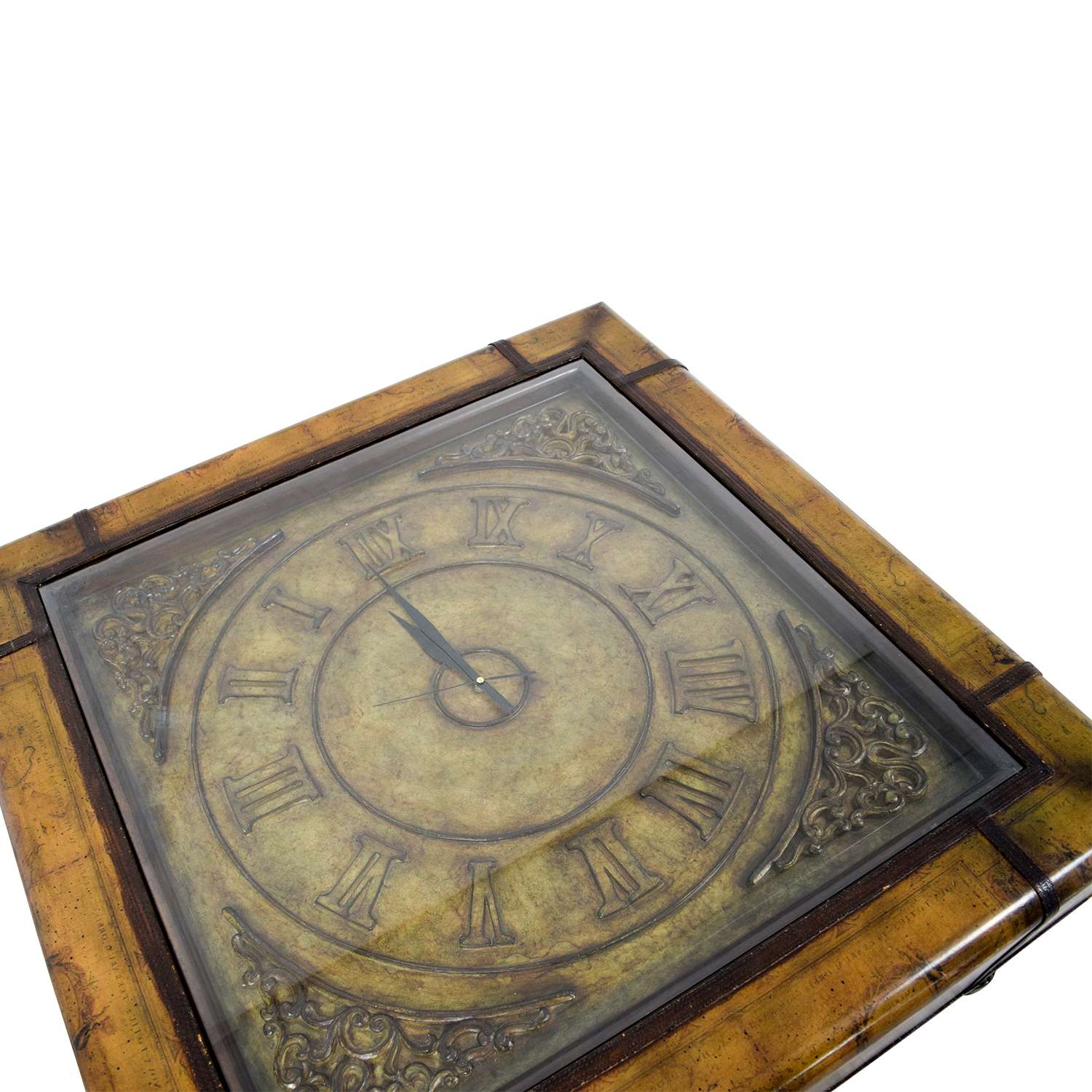 [%Most Up To Date Coffee Tables With Clock Top Pertaining To 87% Off – Glass Clock Top Coffee Table / Tables|87% Off – Glass Clock Top Coffee Table / Tables Pertaining To Most Recent Coffee Tables With Clock Top%] (View 2 of 20)