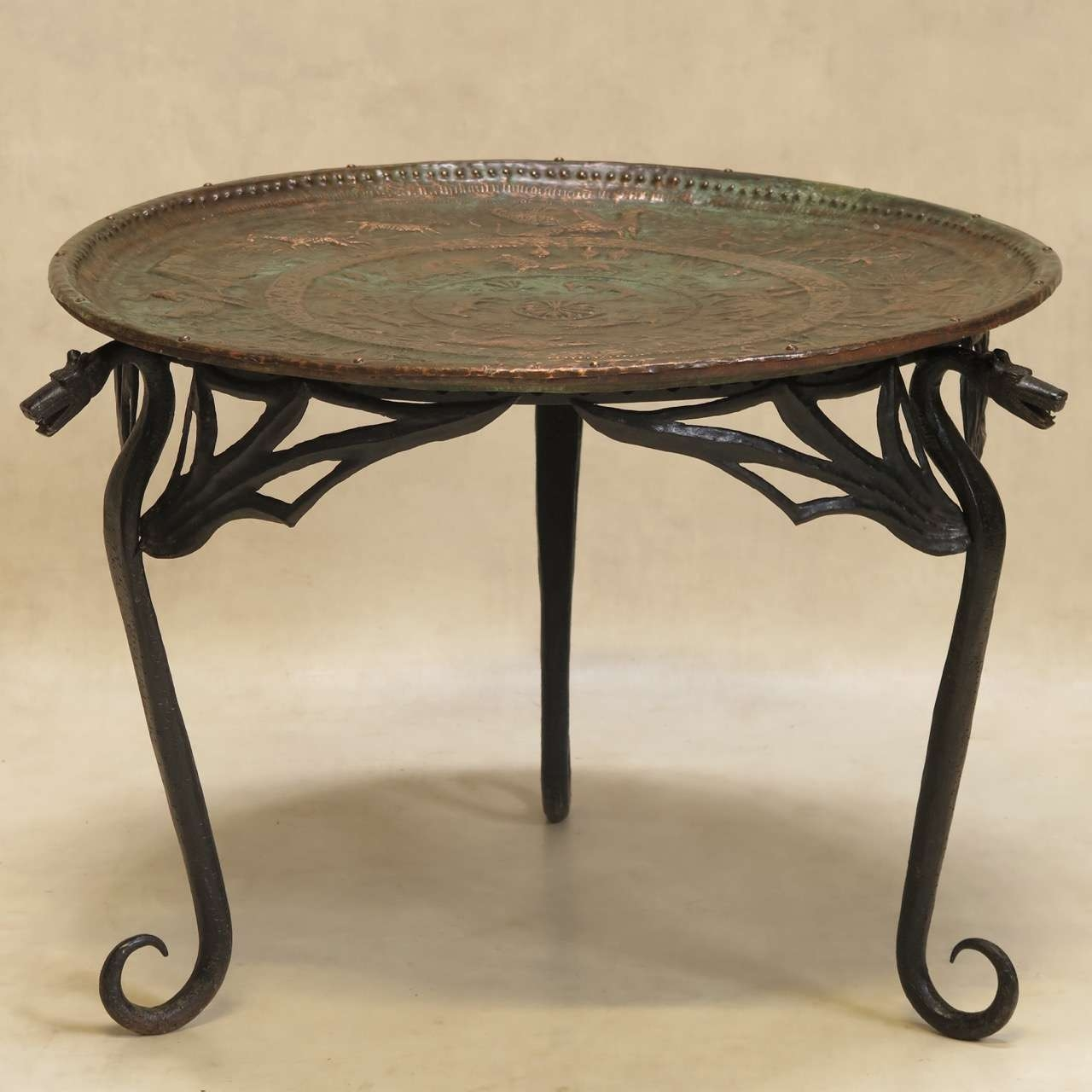 "Most Up To Date Dragon Coffee Tables With Regard To Wrought Iron ""dragon"" Coffee Table With Copper Top, France, Early (View 12 of 20)"