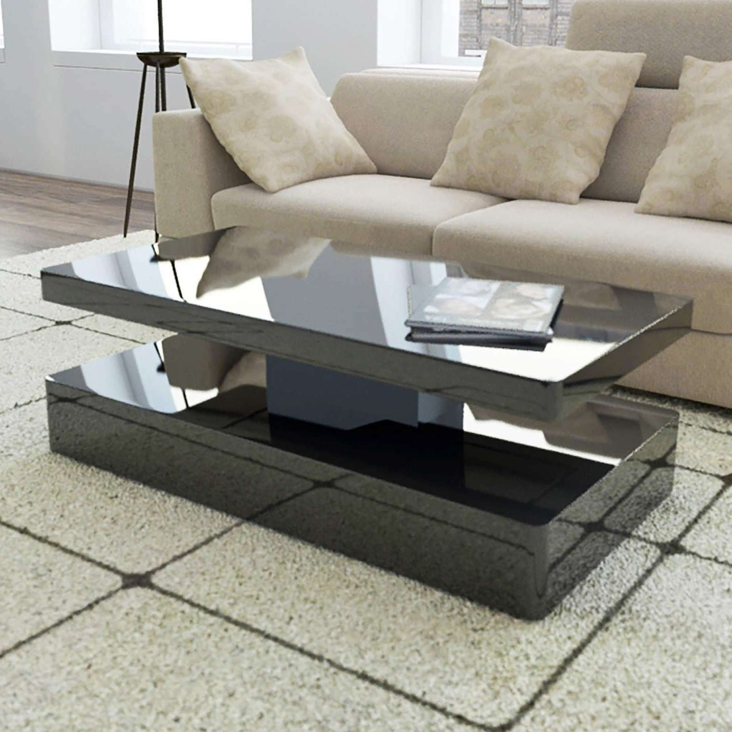 Most Up To Date High Gloss Coffee Tables With Regard To Tiffany Black High Gloss Rectangular Coffee Table With Led (View 5 of 20)