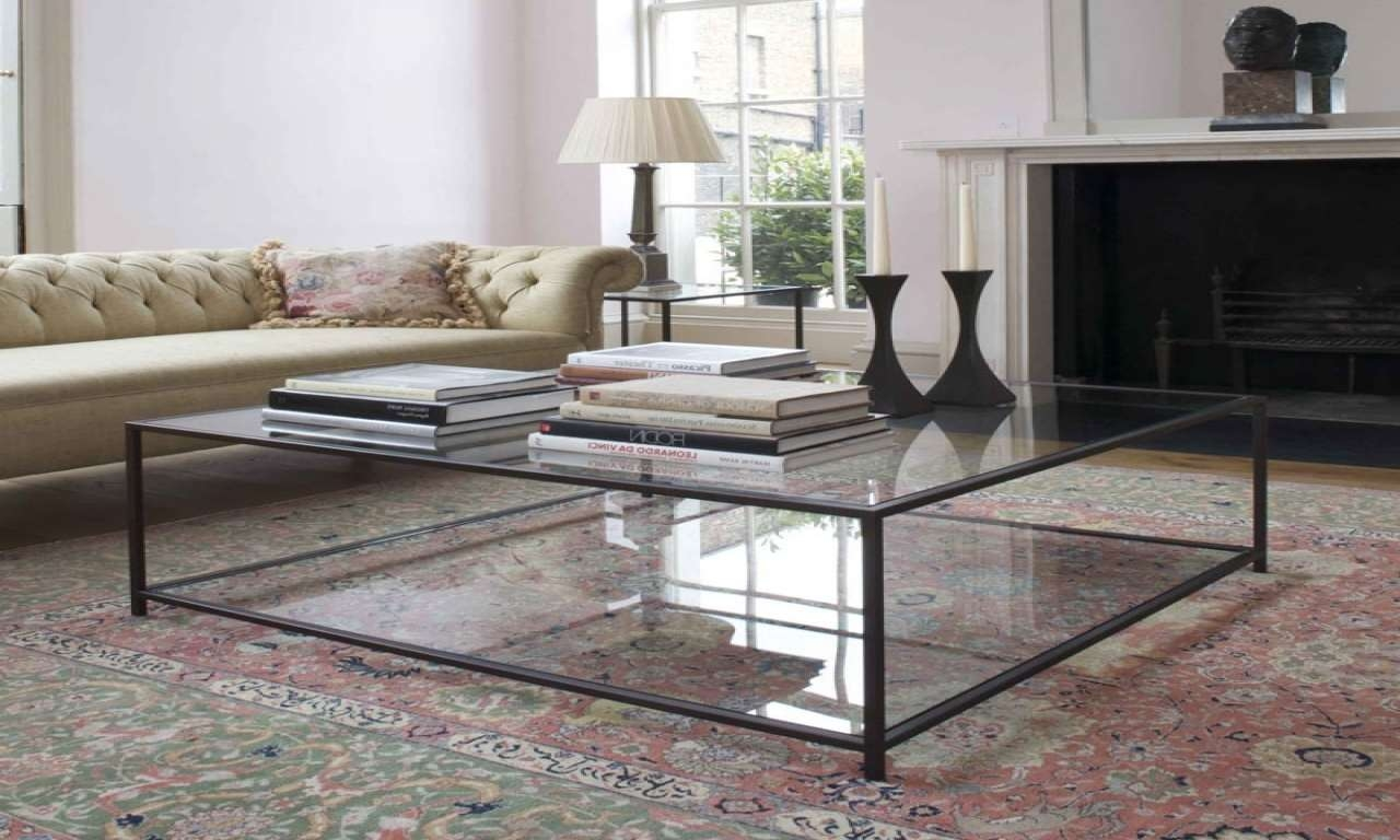 Most Up To Date Large Glass Coffee Tables Regarding Coffee Tables : Elegant Glass Chrome Coffee Table Rectangle (View 14 of 20)