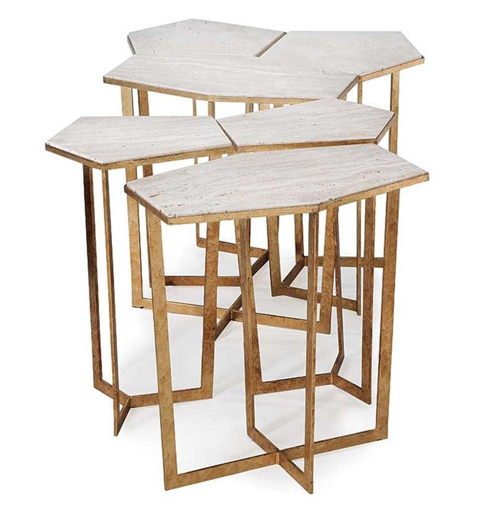 Most Up To Date Puzzle Coffee Tables Intended For Eastwood Hollywood Regency Travertine Gold Leaf Puzzle Coffee (View 9 of 20)