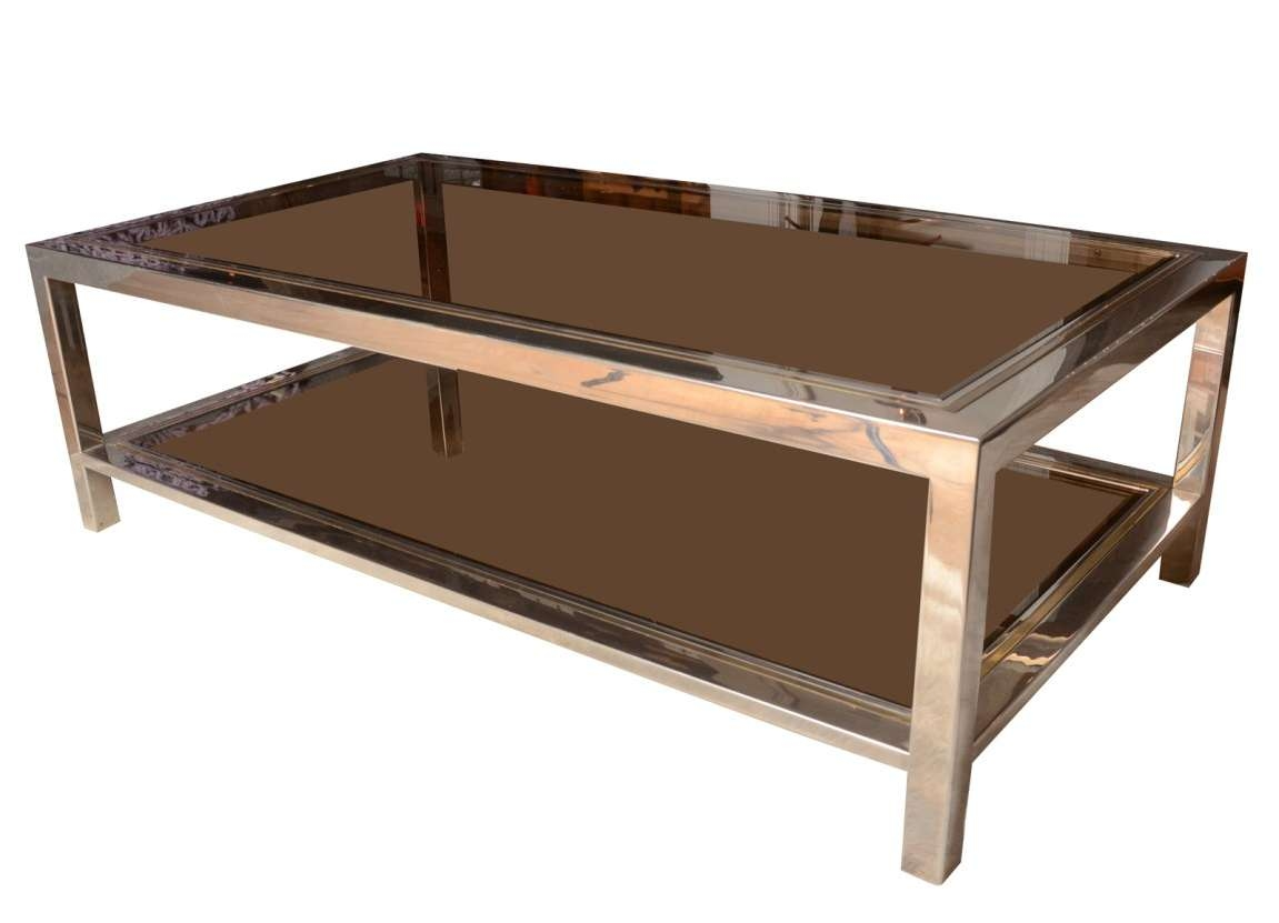 Most Up To Date Retro Smoked Glass Coffee Tables Throughout Coffee Tables : Astonishing Smoked Glass And Chrome Coffee Table (View 17 of 20)