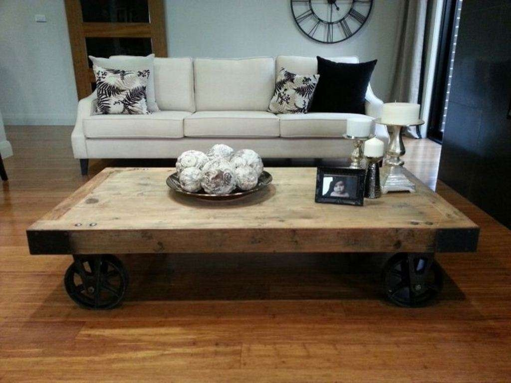 Most Up To Date Rustic Coffee Table With Wheels For Furniture: Outstanding Classic Old Century Rustic Coffee Table (View 14 of 20)