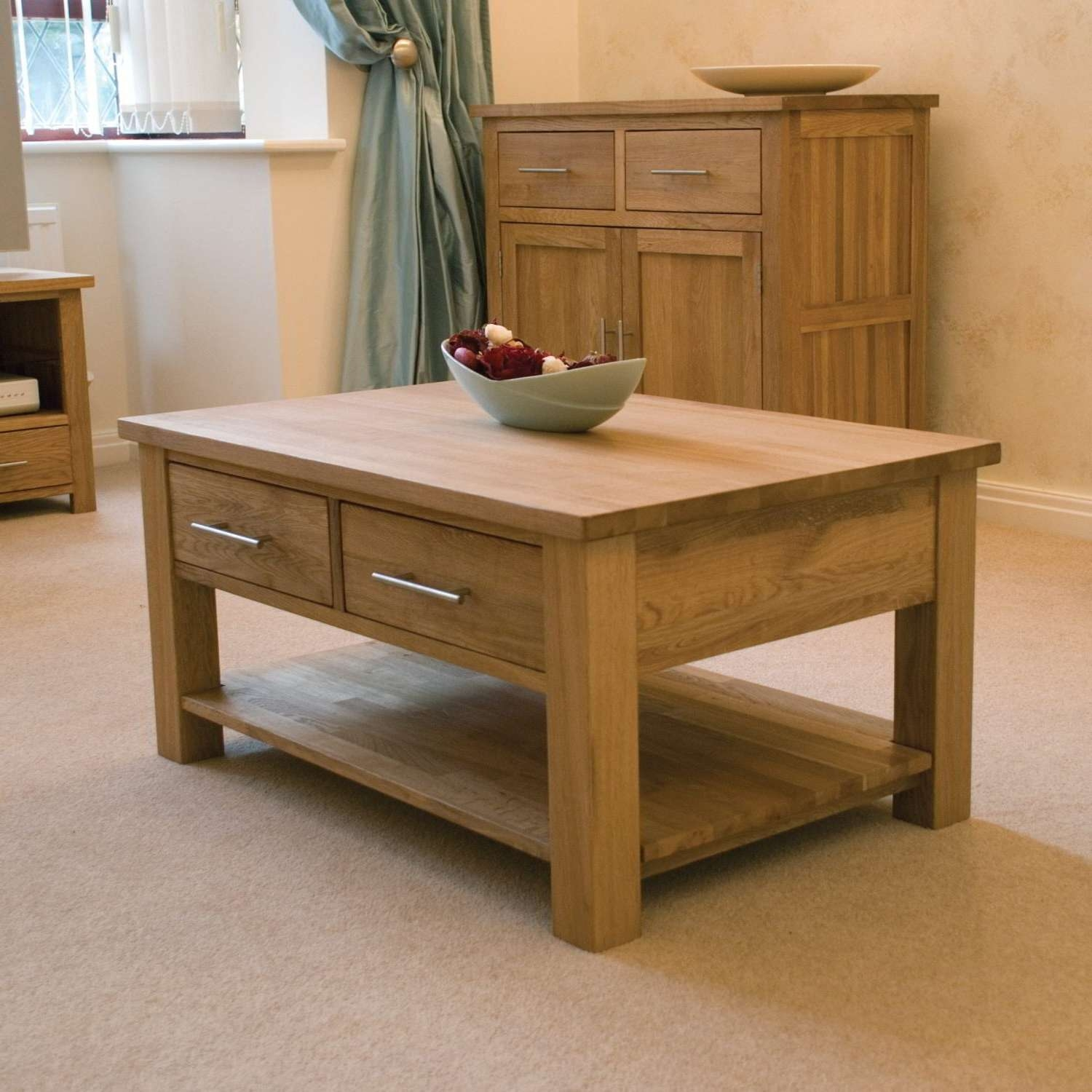 Most Up To Date Small Oak Coffee Tables Within Coffee Table : Fabulous Small Round Coffee Table Rustic Wood (View 9 of 20)