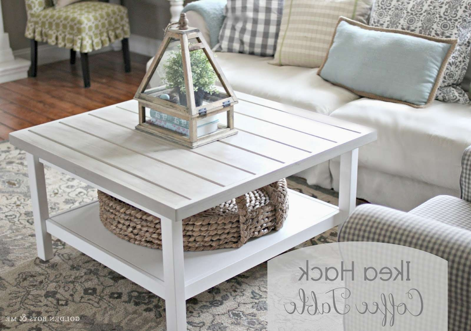 Most Up To Date Square White Coffee Tables Pertaining To Ikea Hack Hemnes Coffee Table With Planked Top White Square Coffee (View 9 of 20)