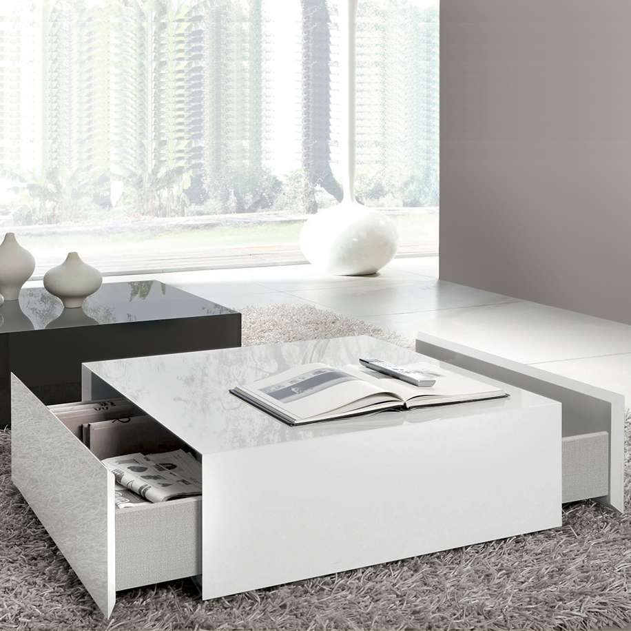 Most Up To Date Square White Coffee Tables Pertaining To White Coffee Table With Drawers Large White Coffee Tables (View 7 of 20)