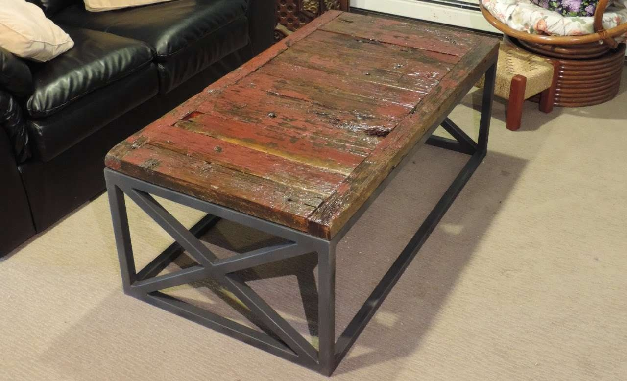 Most Up To Date Steel And Wood Coffee Tables Intended For Making A Reclaimed Barnwood Coffee Table – Youtube (View 14 of 20)