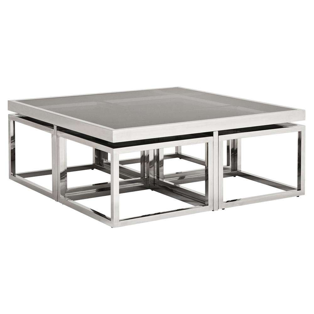 Most Up To Date White Cube Coffee Tables Throughout Eichholtz Brubeck Hollywood Silver Black Glass 5 Piece Square (View 16 of 20)