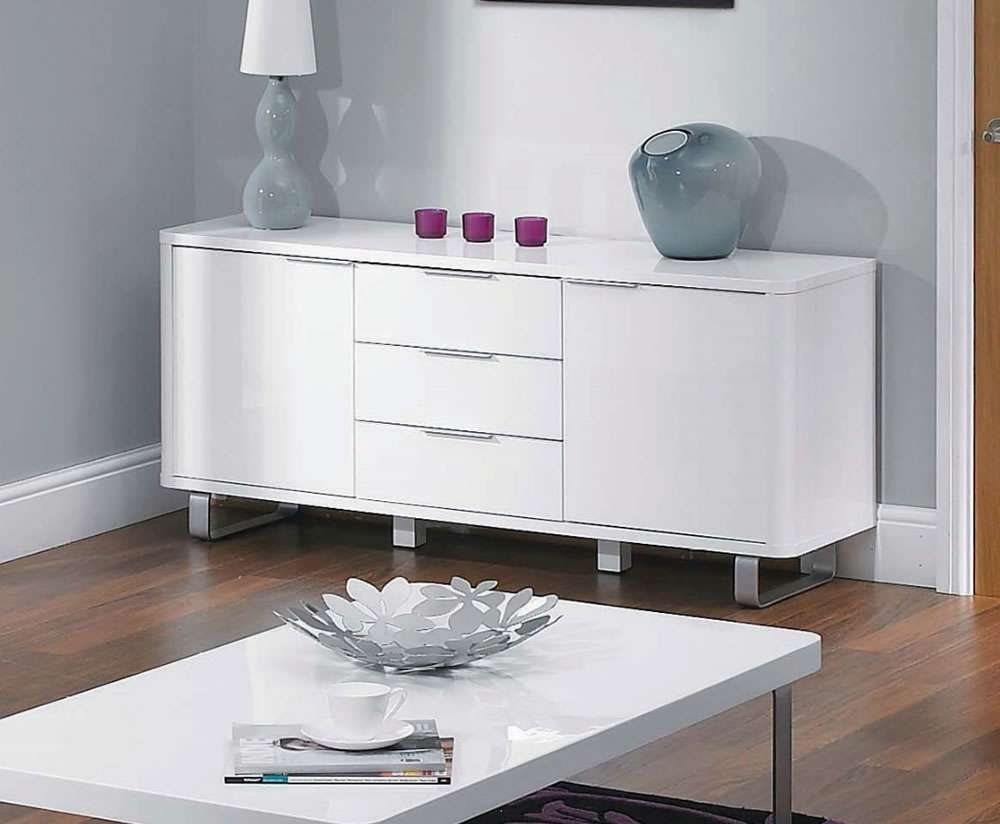 Mya White High Gloss Sideboard – Uk Delivery Intended For High White Gloss Sideboards (View 14 of 20)