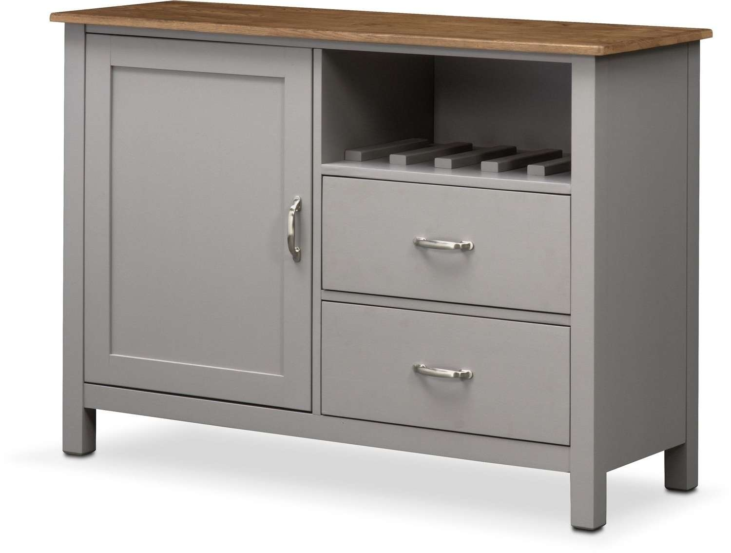 Nantucket Sideboard – Oak And Gray | Value City Furniture And Within Silver Sideboards (View 13 of 20)