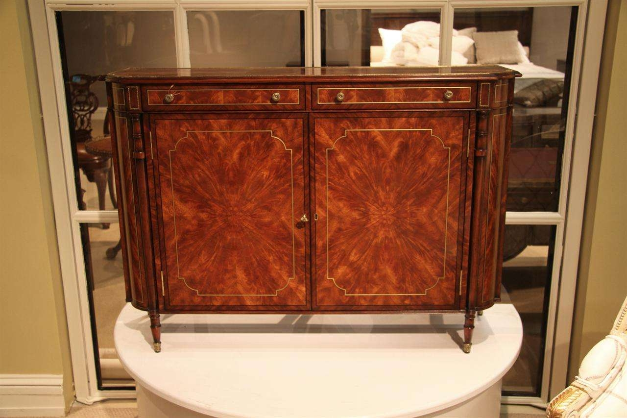 Narrow Mahogany Regency Buffet Or Console Table With Brass Inlay Regarding 14  Inch Deep Sideboards (