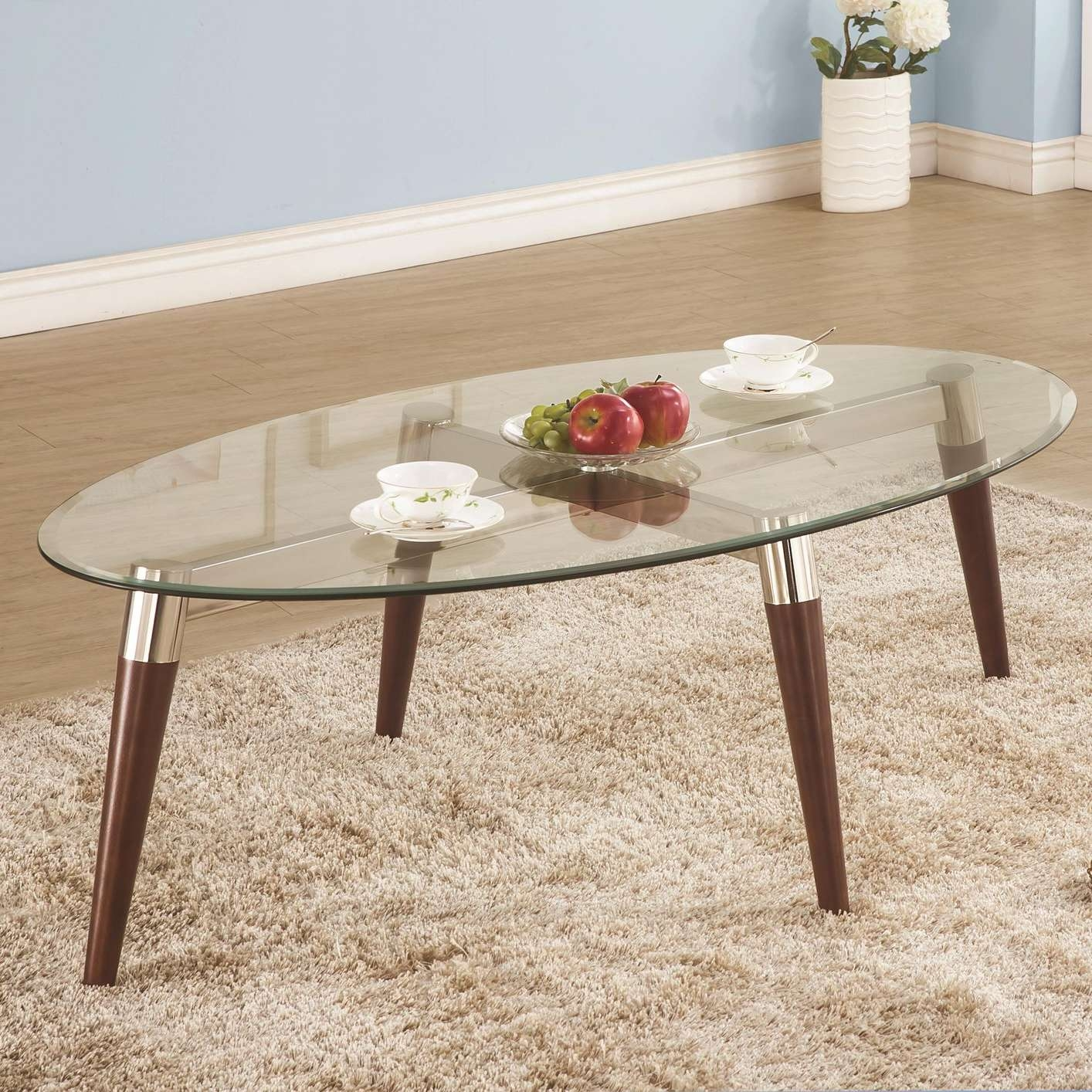 Natalia Brown Glass Coffee Table – Steal A Sofa Furniture Outlet With 2018 Oval Glass And Wood Coffee Tables (View 15 of 20)