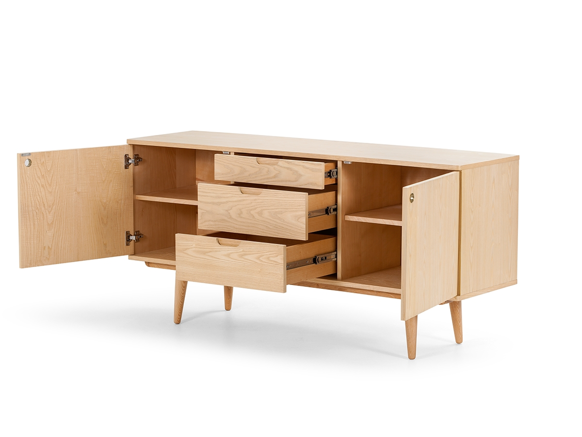 Natural Ash Sustainable Wood Scandinavian Design Sideboard With With Scandinavian Sideboards (View 5 of 20)