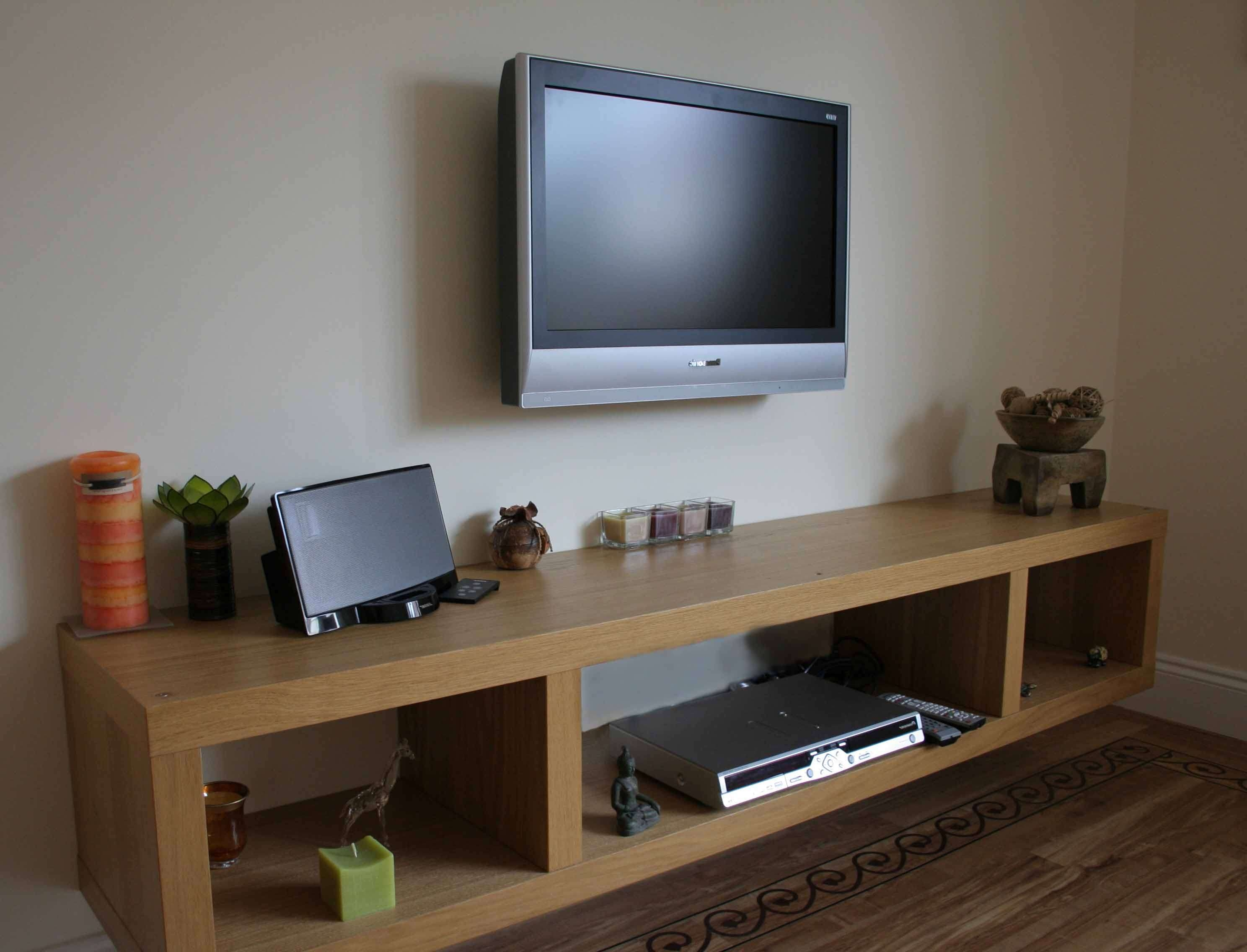 Natural Polished Ash Wood Floating Tv Stand With Three Cube Within Floating Tv Cabinets (View 11 of 20)