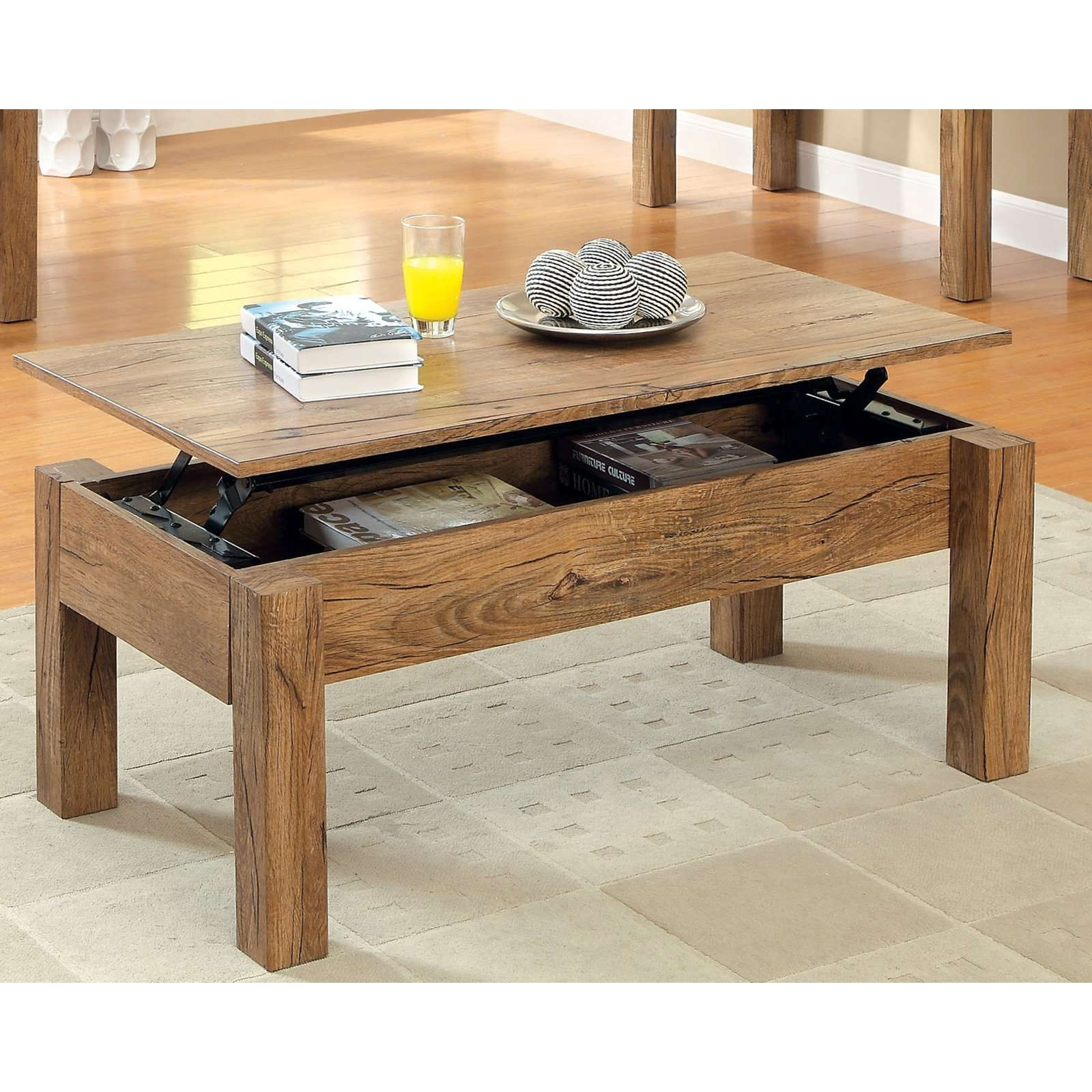Natural Teak Wooden Lift Top Coffee Table With Four Base Leg On Inside Popular Hinged Top Coffee Tables (View 15 of 20)