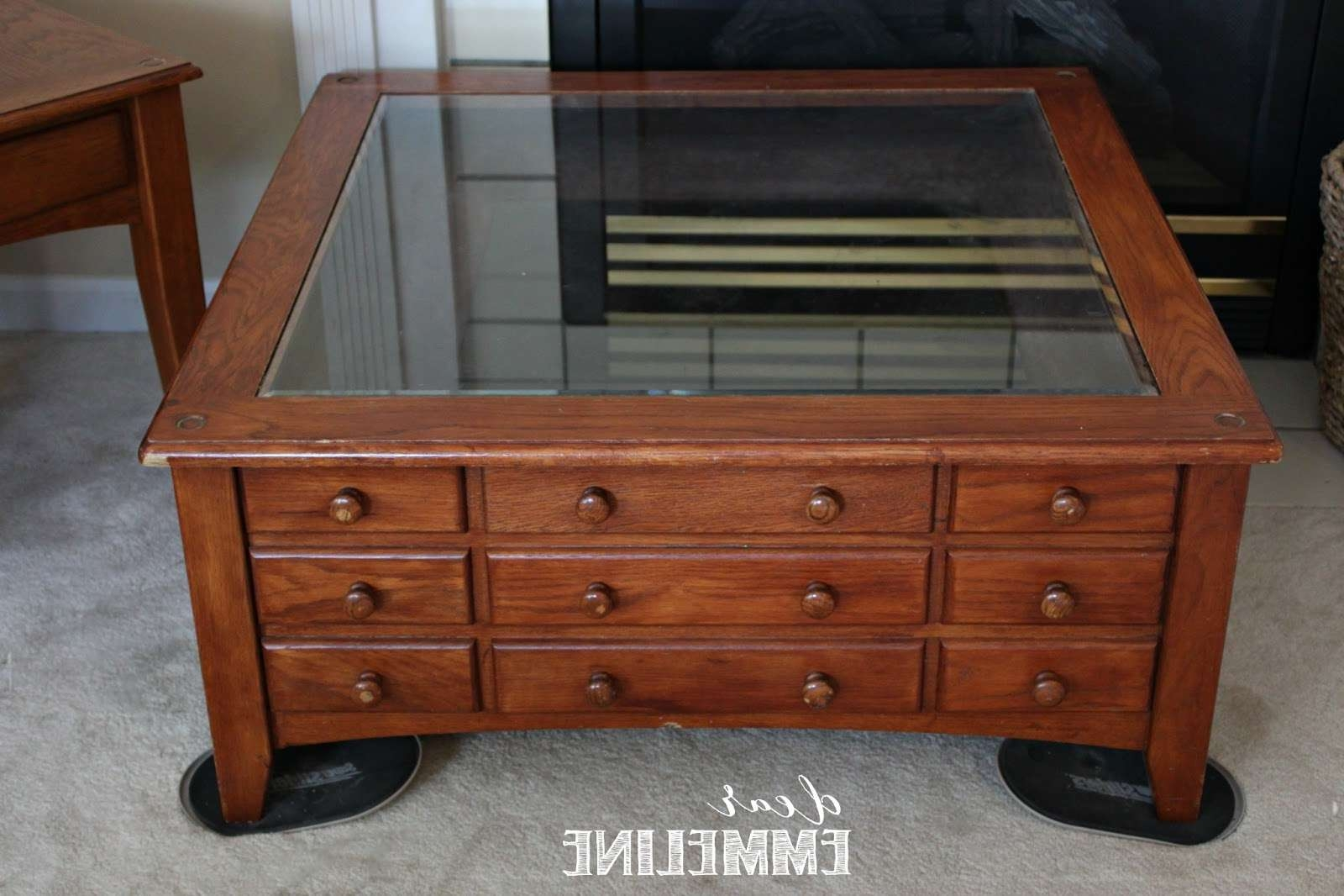 Nautical Coffee Table Redo Inside Current Coffee Tables With Glass Top Display Drawer (View 6 of 20)