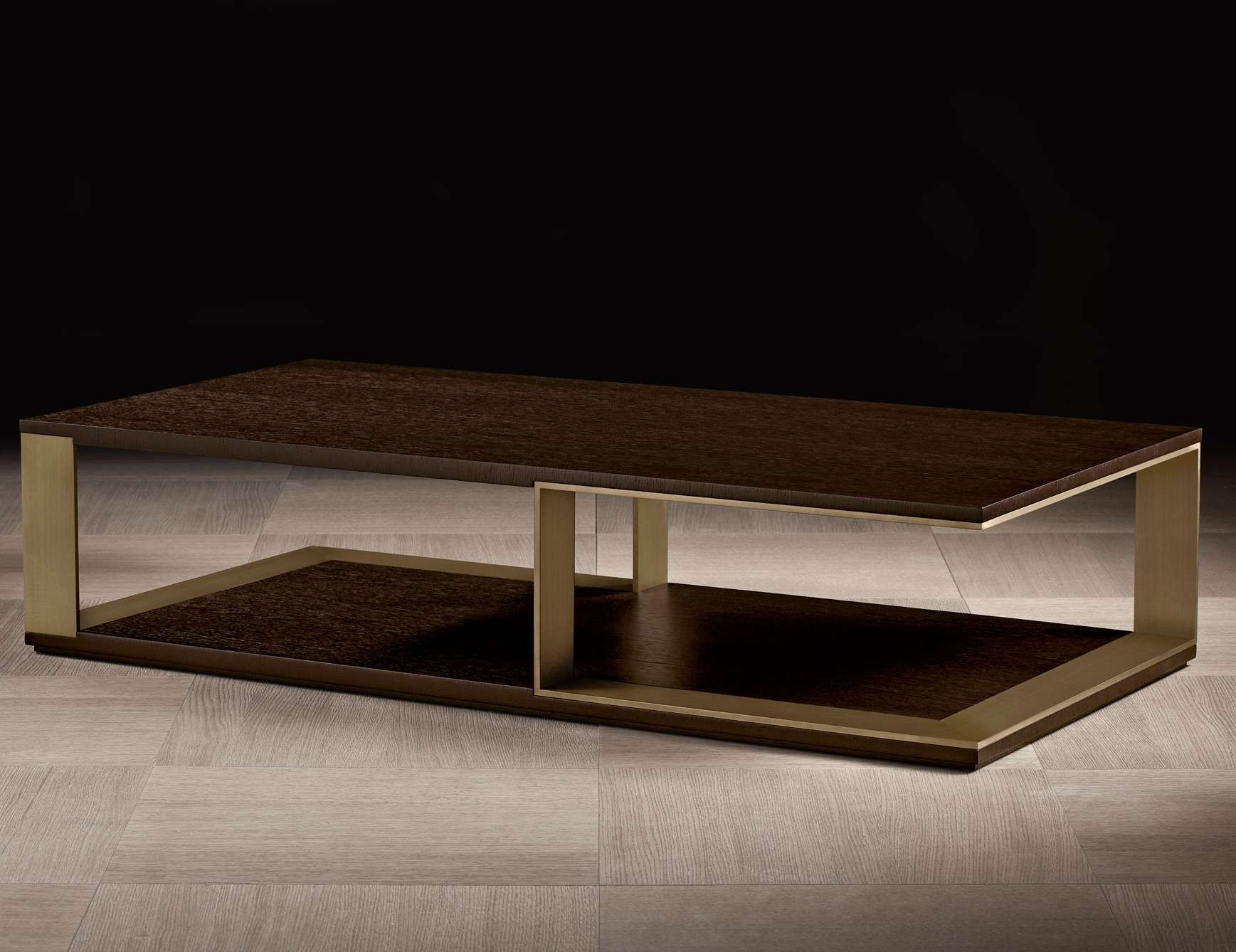 Nella Vetrina Hector Luxury Italian Coffee Table In Mocha Oak Wood Within Recent Luxury Coffee Tables (View 8 of 20)