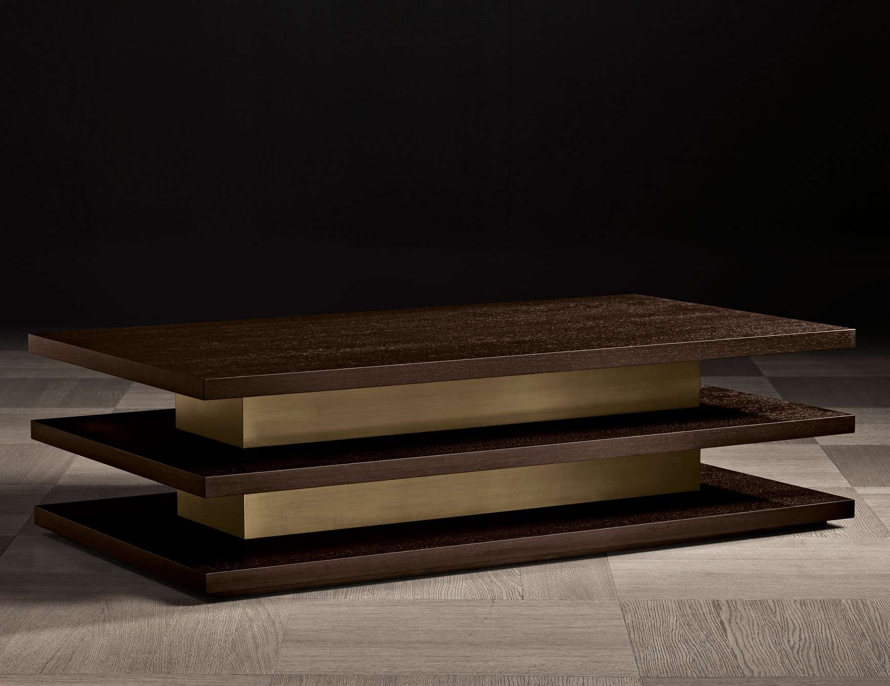 Nella Vetrina Ilo Luxury Italian Coffee Table In Mocha Oak Wood Pertaining To Trendy Italian Coffee Tables (View 4 of 20)