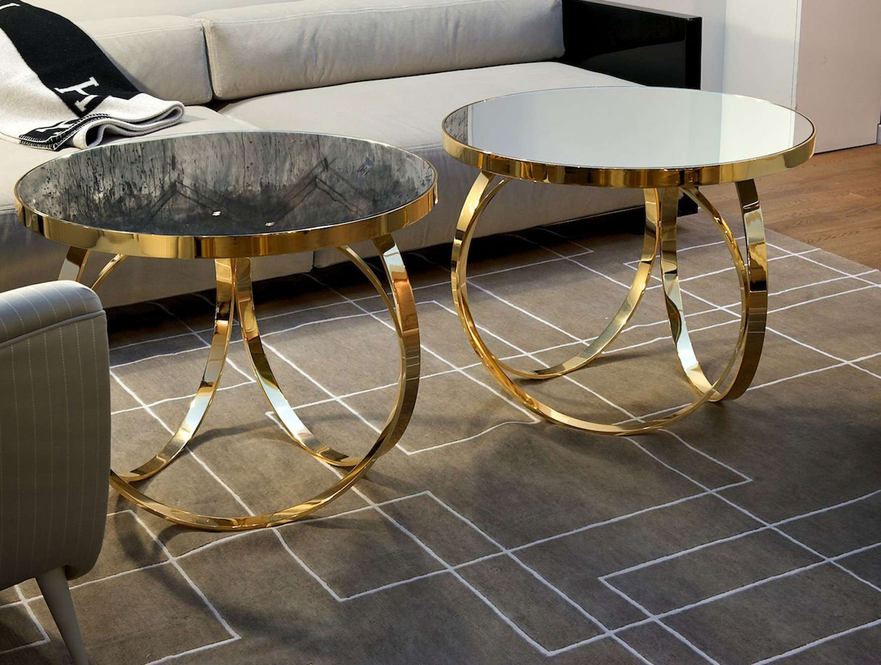 Nella Vetrina Ottoline Contemporary Italian Gold Metal Coffee Table For Recent Glass Gold Coffee Tables (View 13 of 20)
