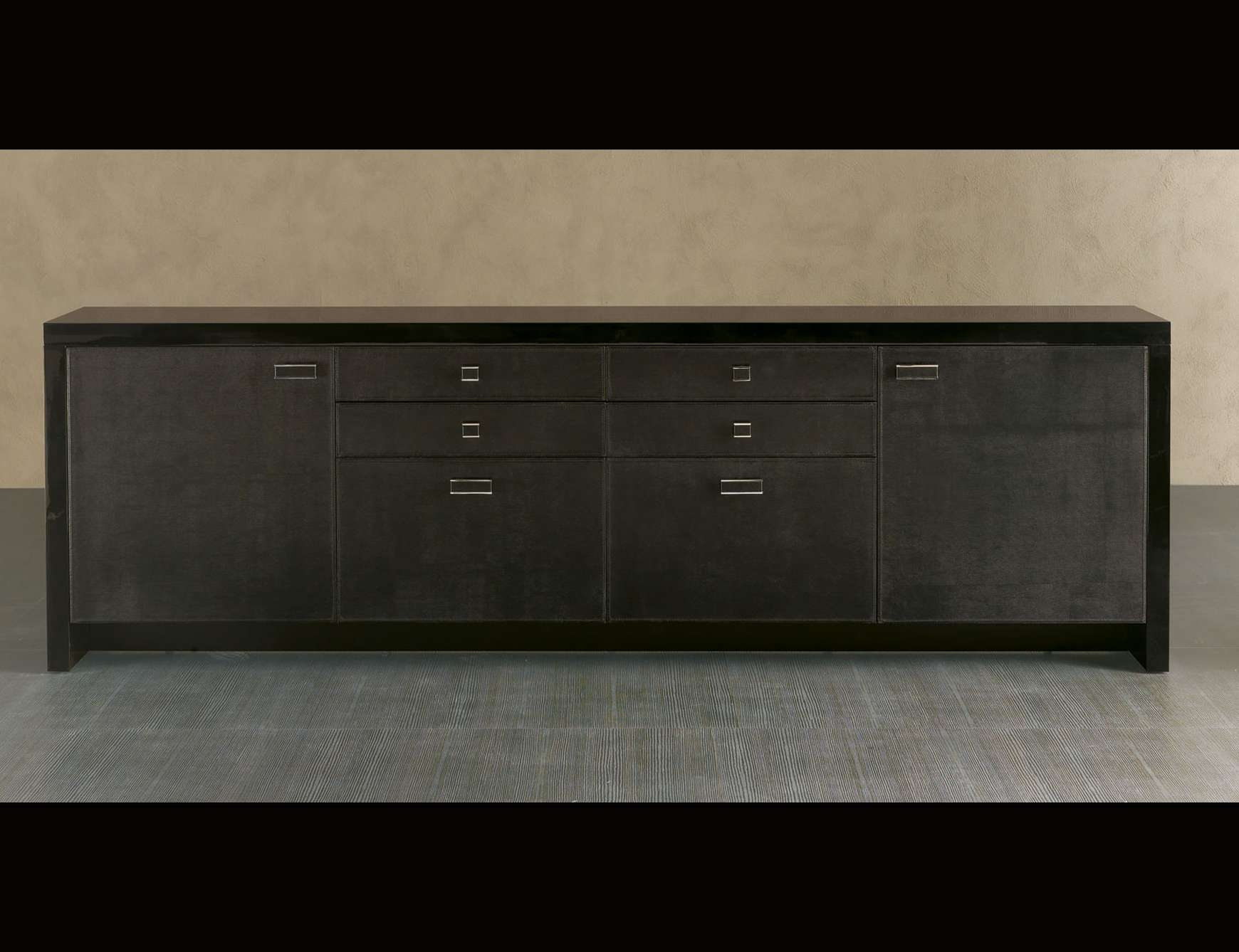 Nella Vetrina Rugiano Viera 6015Big Sideboard Upholstered In Black Intended For Black Sideboards Cabinets (View 11 of 20)