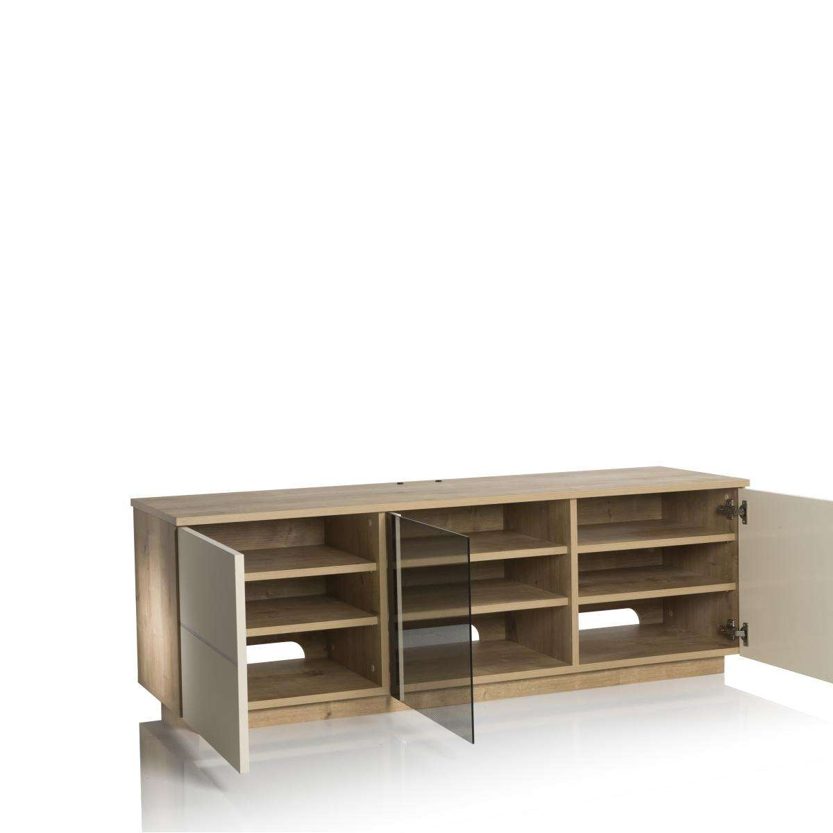 New London 150Cm Tv Cabinet Oak /cream | Nldn Oak Cr Inside Cream High Gloss Tv Cabinets (View 10 of 20)