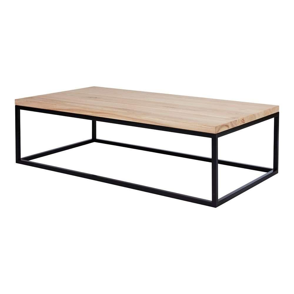 Newest Black Wood Coffee Tables Regarding Industrial Designer Coffee Table – Timber Top/black Metal Base (View 14 of 20)