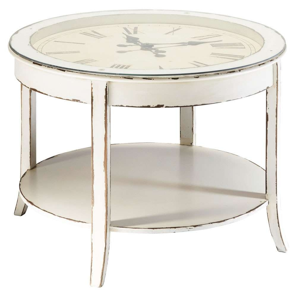 Newest Clock Coffee Tables Round Shaped Pertaining To Glass And Wood Round Clock Coffee Table In White With Distressed (View 2 of 20)