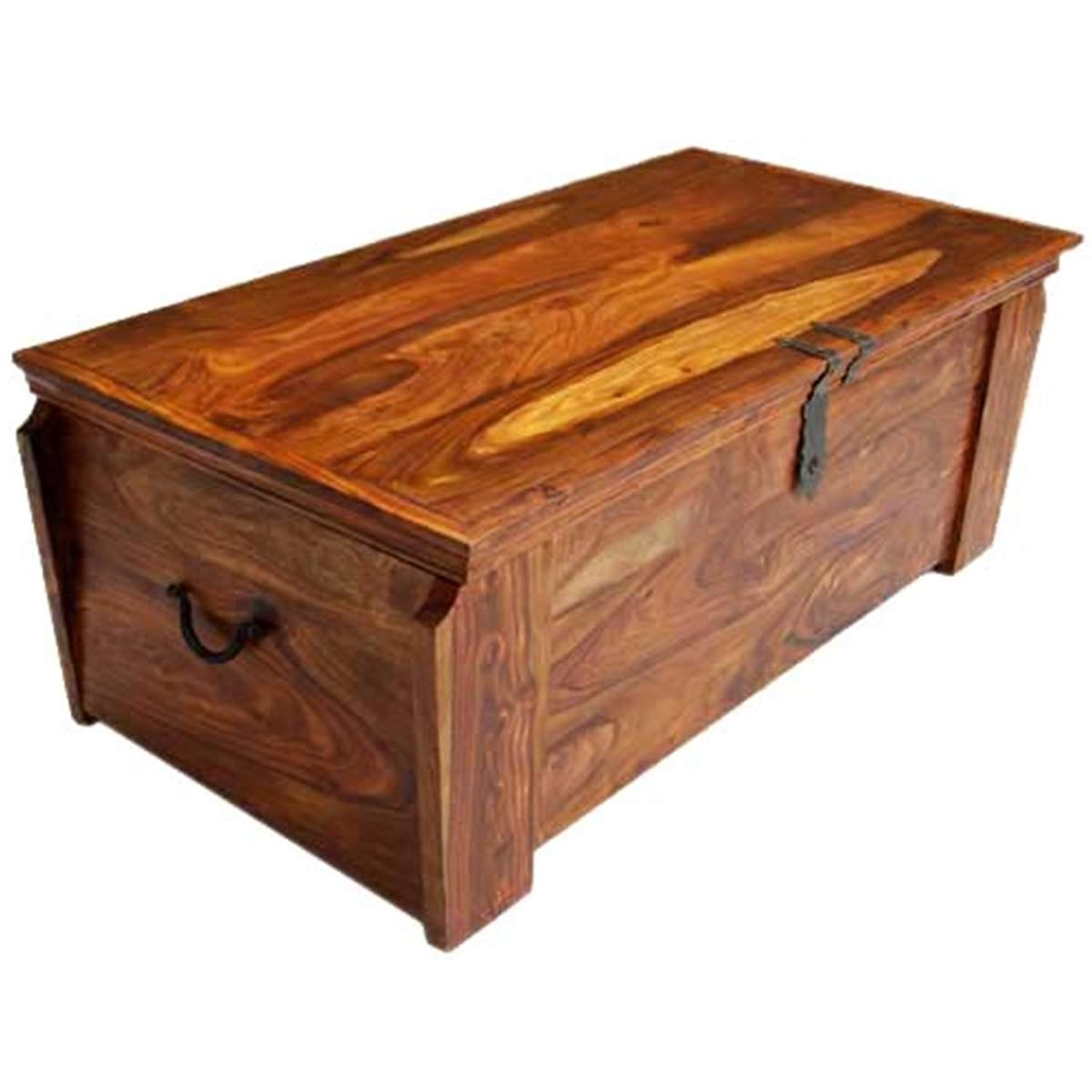 Newest Coffee Tables With Box Storage Intended For Wooden Storage Trunk Chest Box Coffee Table (Gallery 10 of 20)
