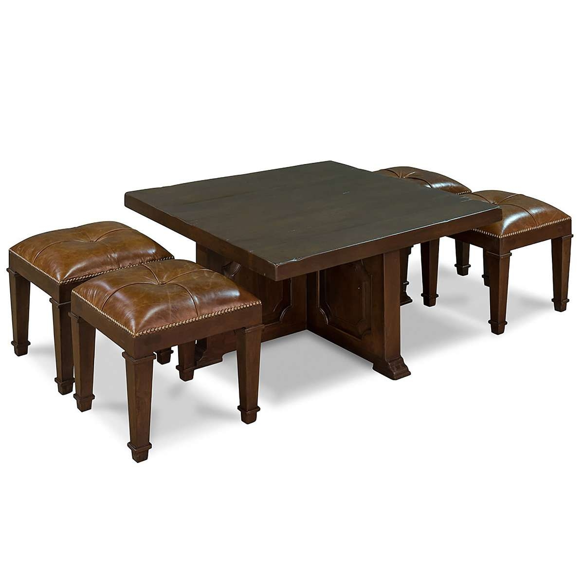 Newest Coffee Tables With Nesting Stools Regarding Coffee Table With 4 Nesting Stools – So That's Cool (View 3 of 20)