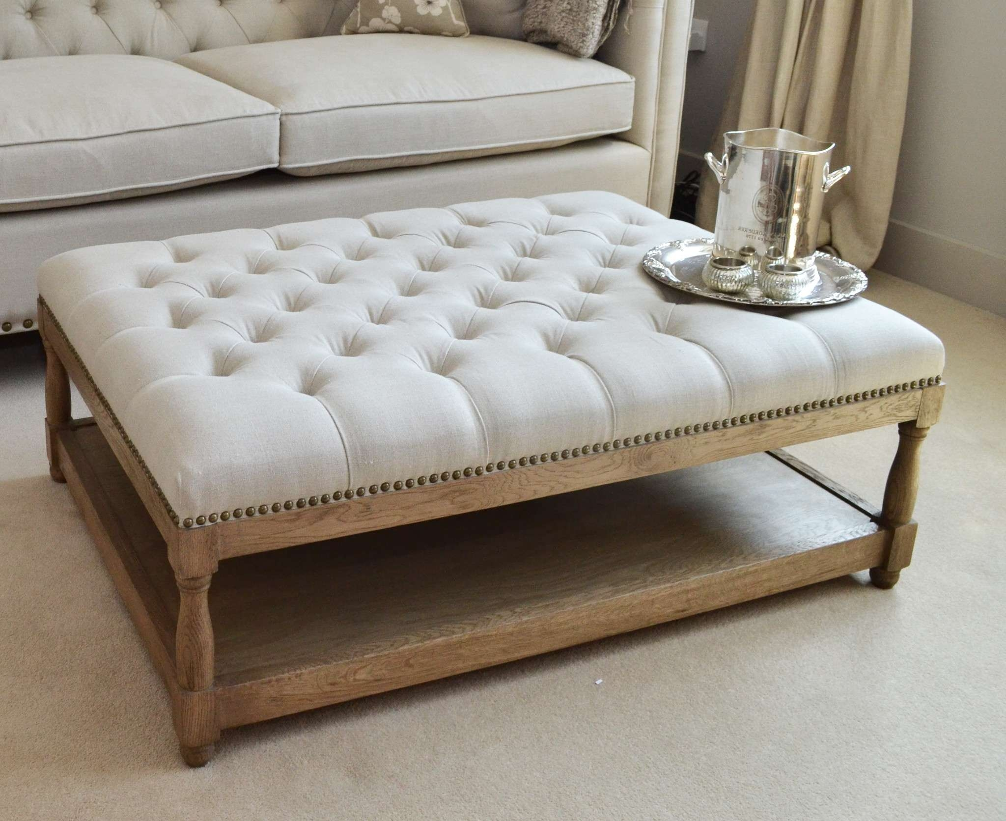 Newest Huge Coffee Tables Throughout Furniture : Large Padded Coffee Table Extra Long Storage Ottoman (View 7 of 20)