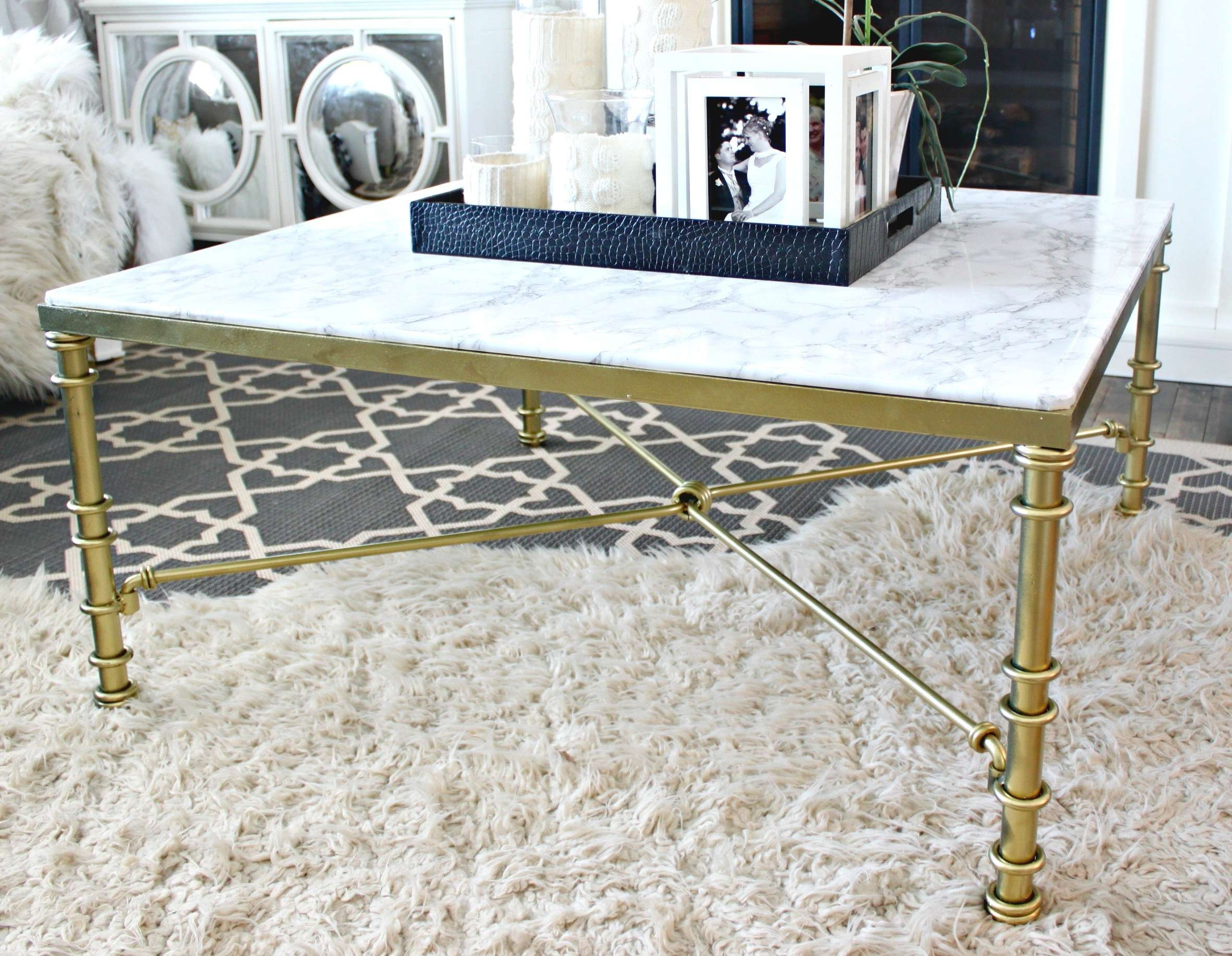 Newest Marble And Glass Coffee Table Within Diy Faux Marble Coffee Table – A Purdy Little House (View 13 of 20)
