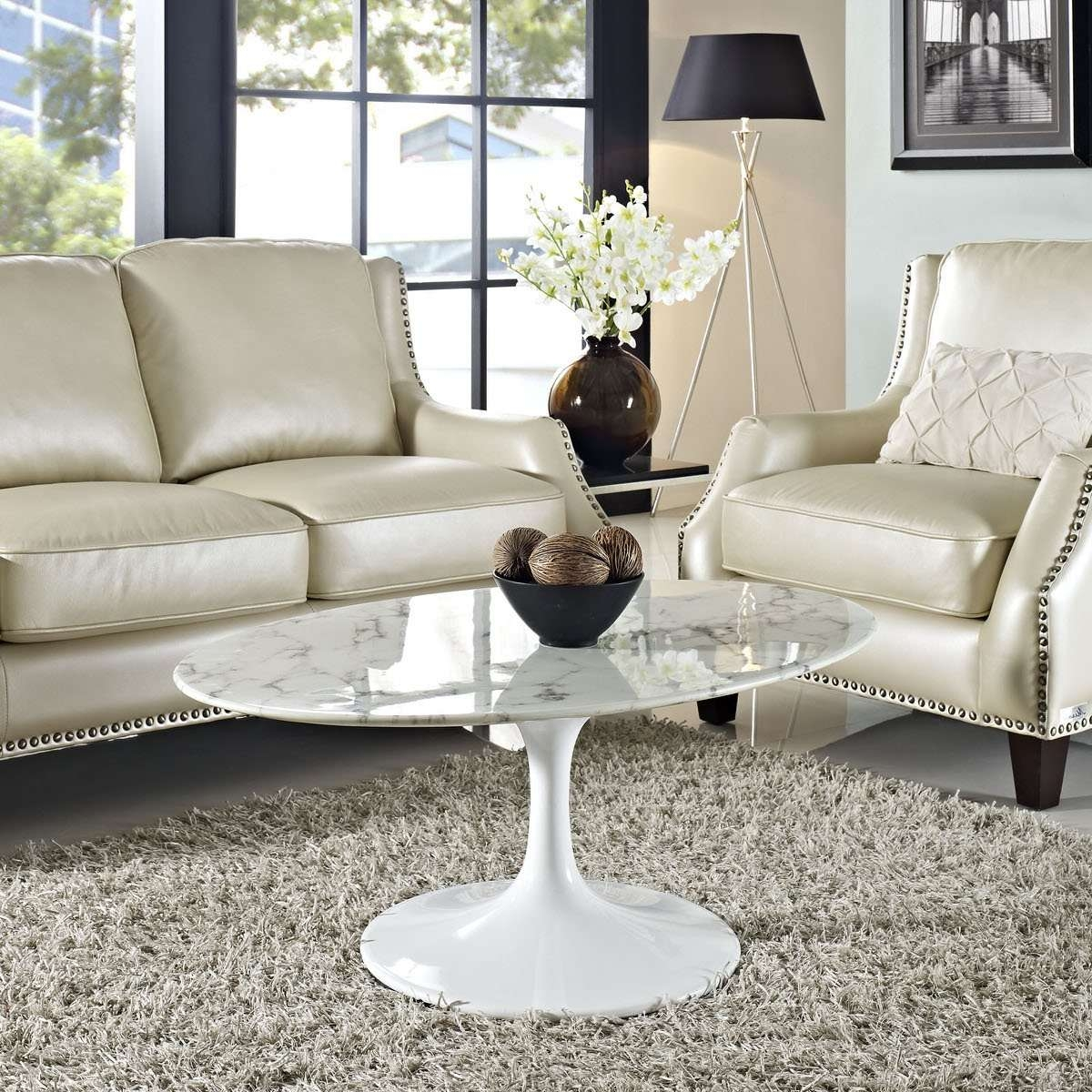 Newest Oval Shaped Coffee Tables Throughout Lippa 42 Inch Oval Shaped Artificial Marble Coffee Table White (View 13 of 20)