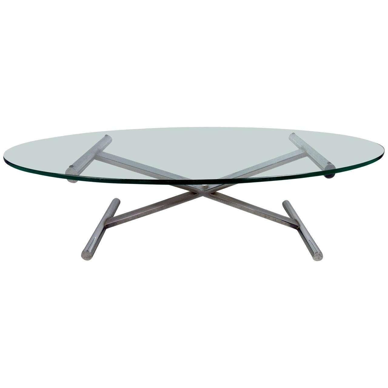 Newest Oval Shaped Glass Coffee Tables Regarding Oval Shaped Glass Top Coffee Table With Chrome Base For Sale At (View 8 of 20)