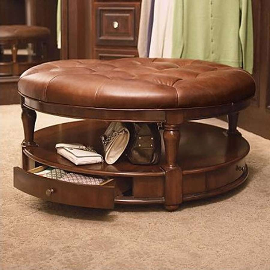 Newest Round Coffee Tables With Drawers Within Coffee Table : Small Round Glass Top Coffee Table Small Square (View 11 of 20)