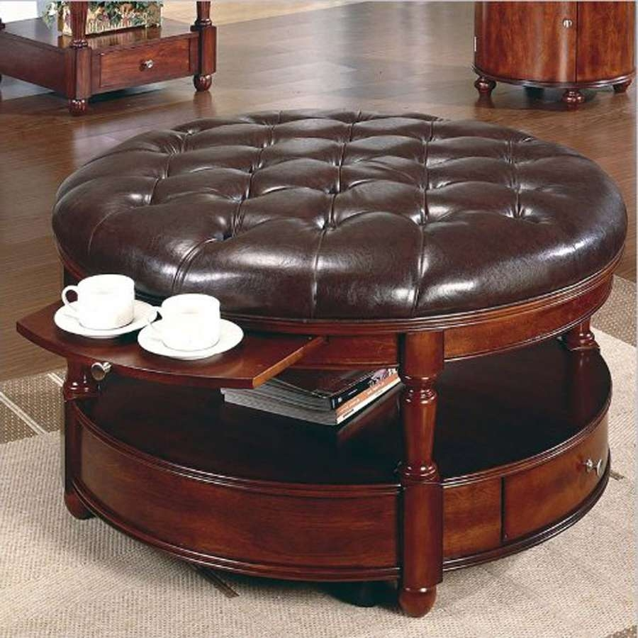 Newest Round Upholstered Coffee Tables Regarding Furniture : Brown Leather Circle Ottoman Shadow Box Coffee Table (View 17 of 20)