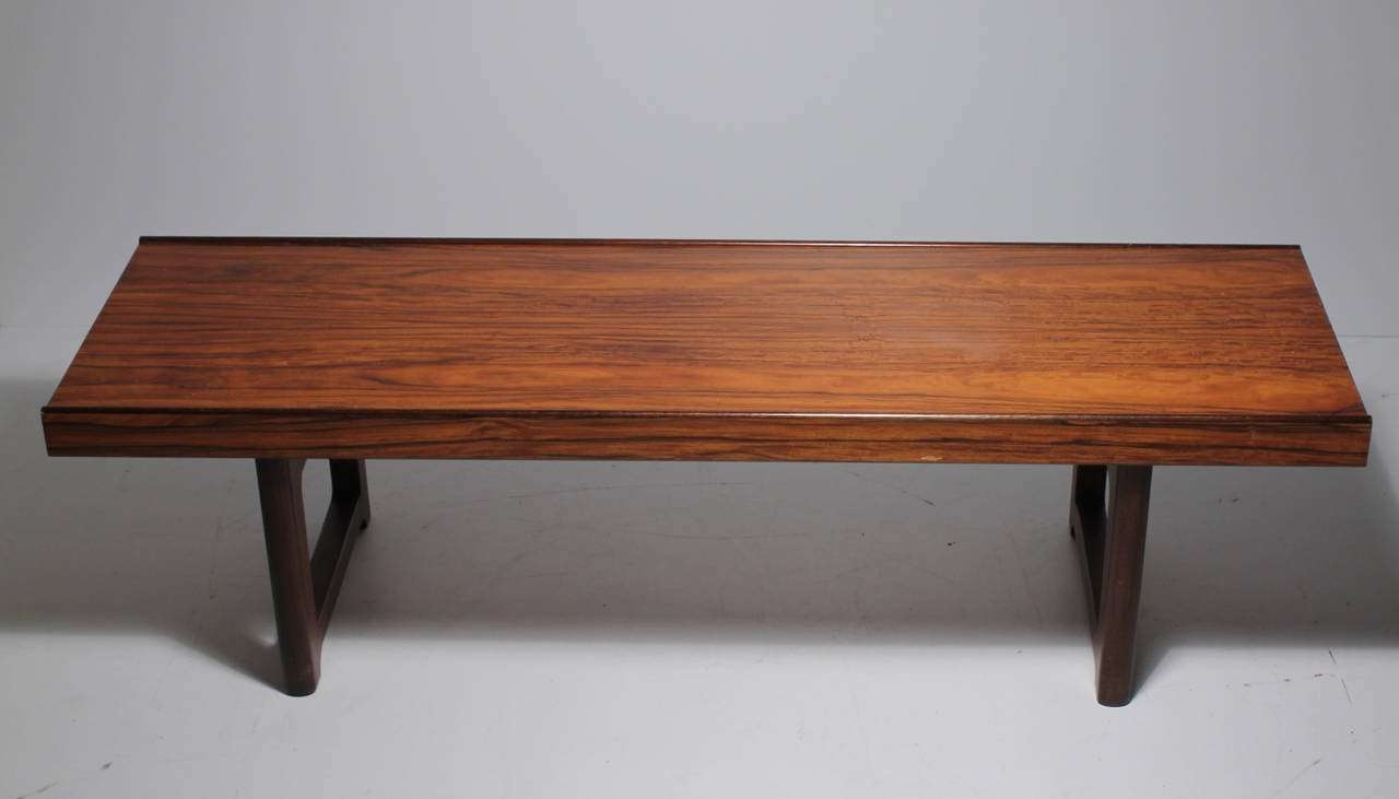 Newest Short Coffee Tables Within Danish Modern Bruksbo Short Rosewood Bench Coffee Table For Sale (View 19 of 20)