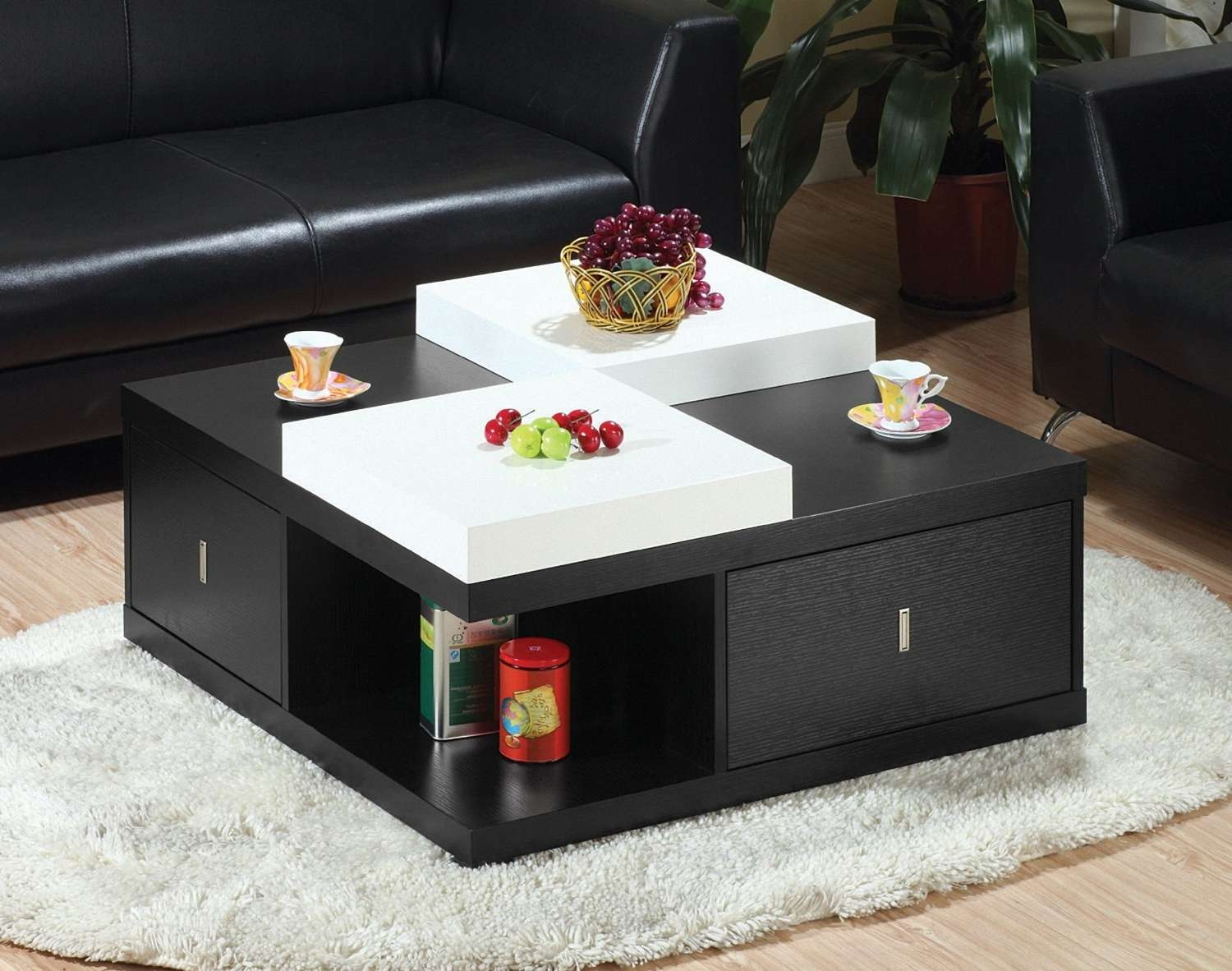 Newest Square Coffee Tables With Drawers Within Coffee Table: Breathtaking Large Square Coffee Table Decorating (View 7 of 20)