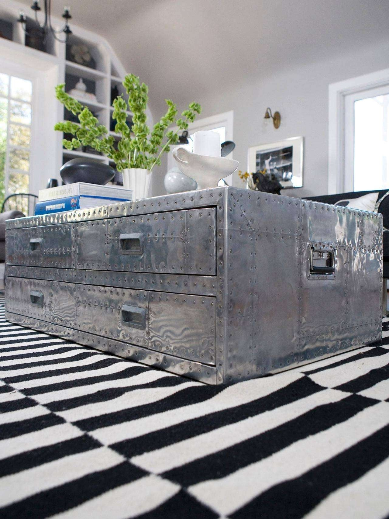 Newest Steamer Trunk Stainless Steel Coffee Tables Intended For Uncategorized : Metal Trunk Coffee Table Excellent For Amazing The (View 7 of 20)