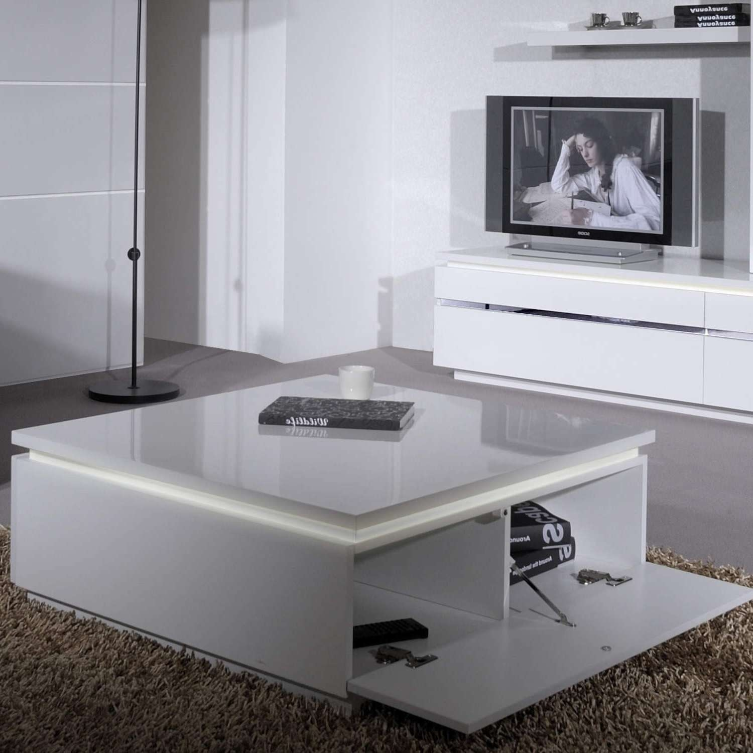 Newest White Gloss Coffee Tables Intended For Coffee Tables : Modern White Square Coffee Table Gallery Images (View 12 of 20)