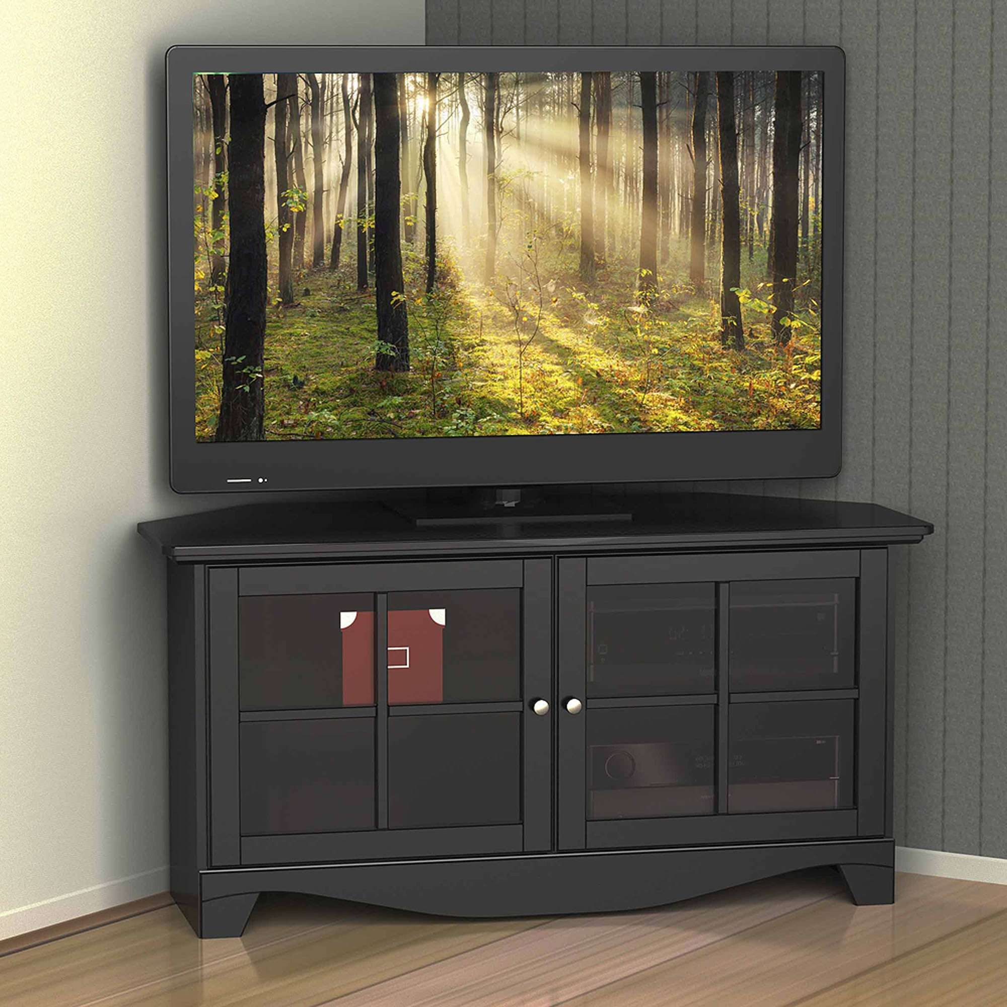 Nexera Pinnacle Black 2 Door Corner Tv Stand For Tvs Up To 49 Regarding Black Corner Tv Cabinets With Glass Doors (View 10 of 20)