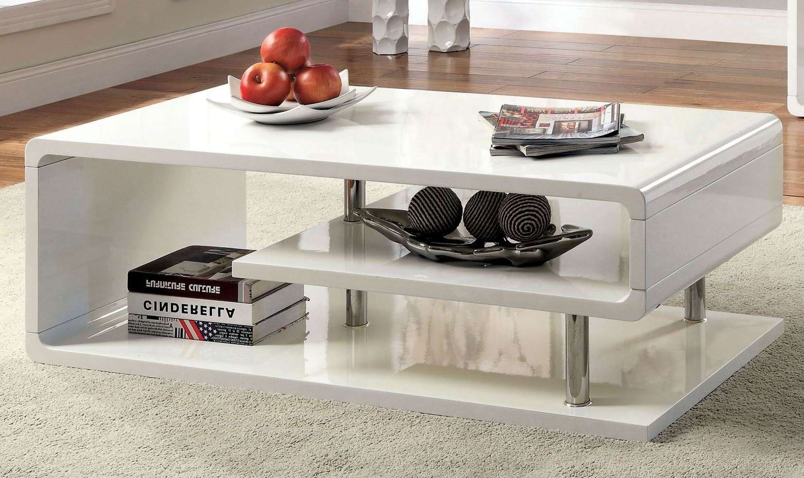 Ninove I White High Gloss Coffee Table From Furniture Of America Regarding Well Liked Gloss Coffee Tables (View 4 of 20)