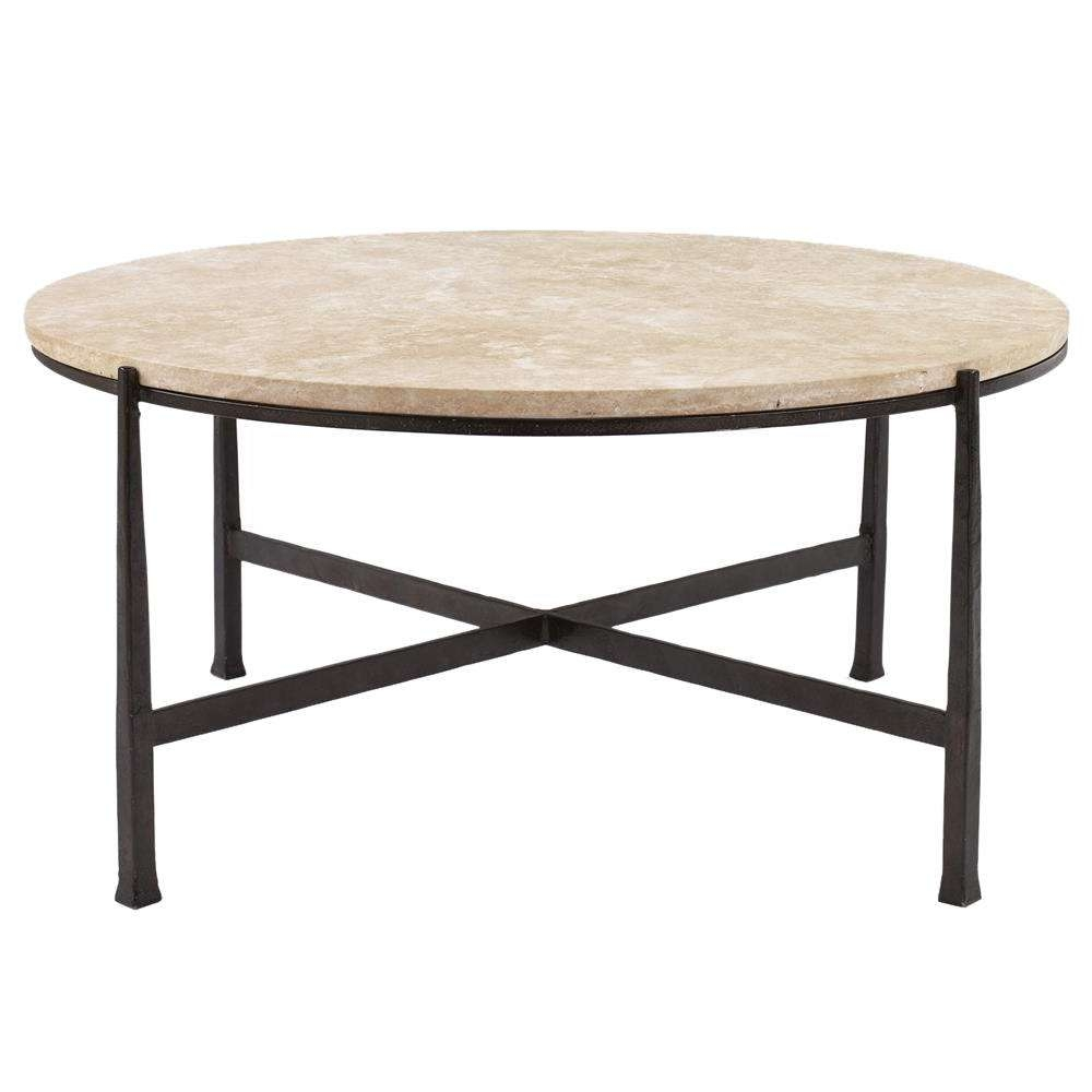Norfolk Industrial Loft Round Metal Stone Patio Coffee Table Within Most Up To Date Round Steel Coffee Tables (View 11 of 20)