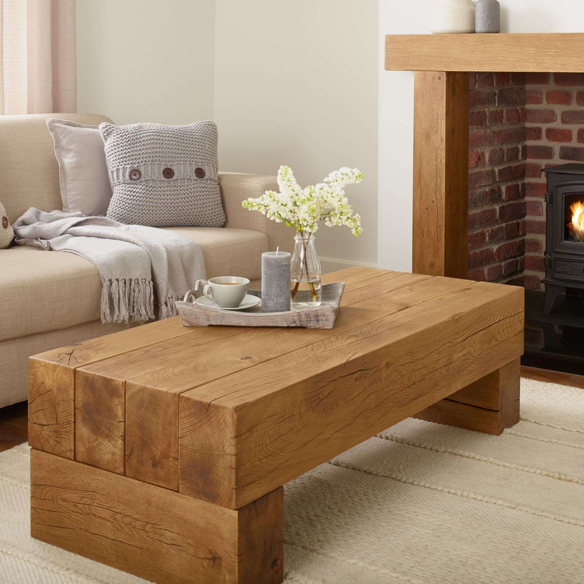 Oak Coffee Table – Banbury Solid French Rustic Beam Pertaining To Widely Used Solid Oak Beam Coffee Table (Gallery 20 of 20)