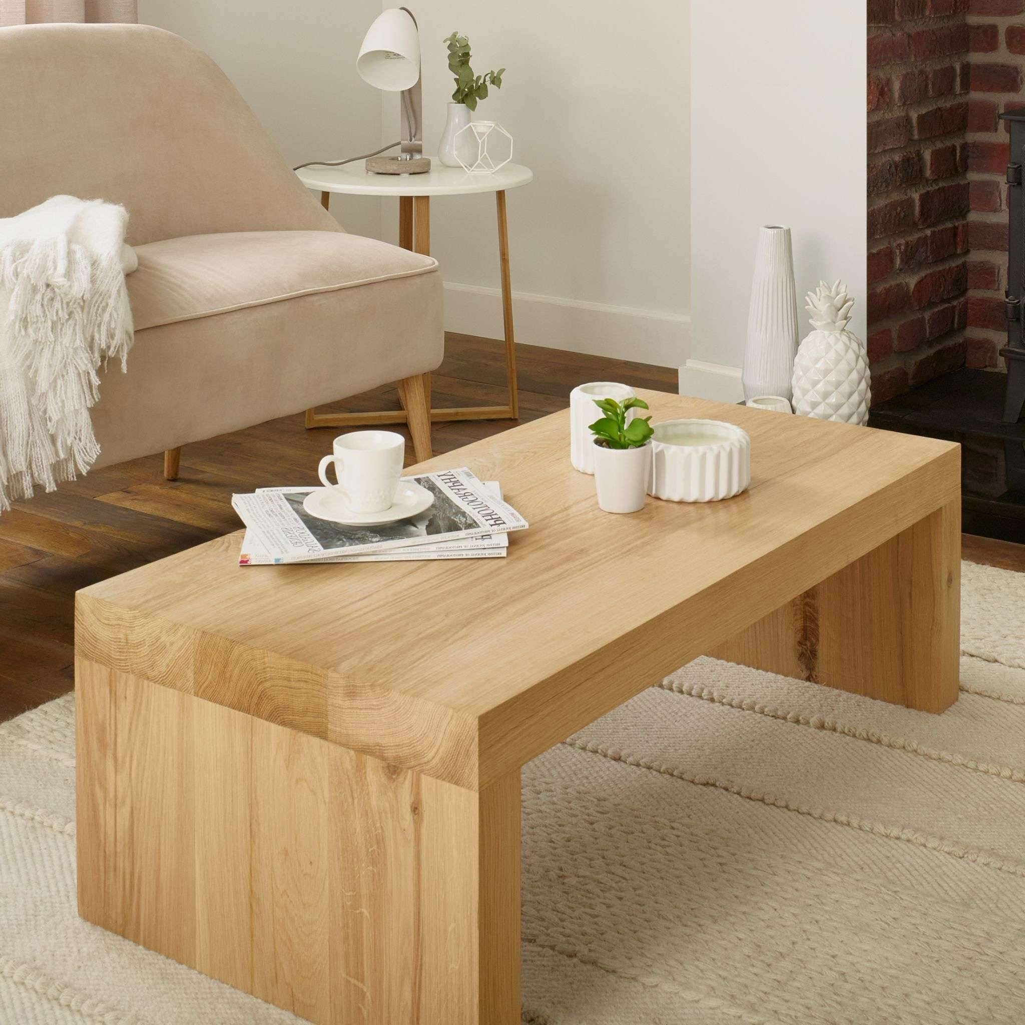 Oak Coffee Table Canterbury Solid French Rustic Beam Intended For Current Solid Oak Beam Coffee Table (View 11 of 20)